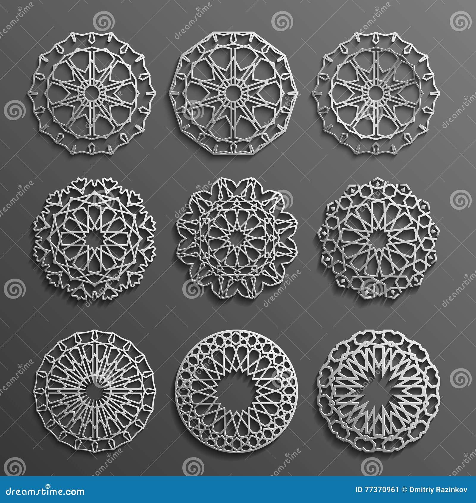 Islamic ornament vector , persian motiff . 3d ramadan round pattern elements . Geometric logo template set. Circular