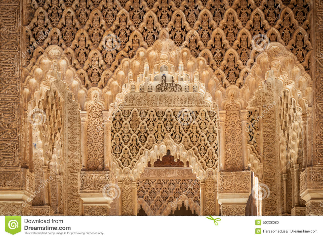 Moresque ornaments from Alhambra Islamic Royal Palace, Granada, Spain ...