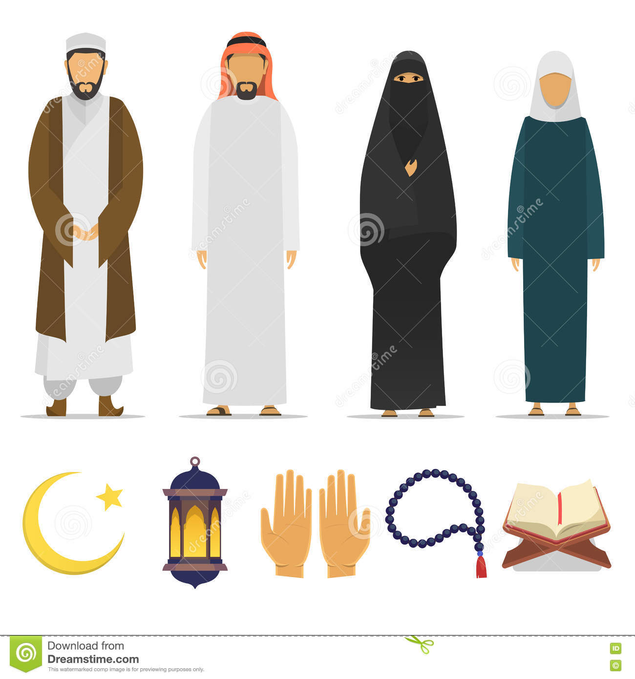 Islamic Peoples And Religion Symbols Stock Illustration