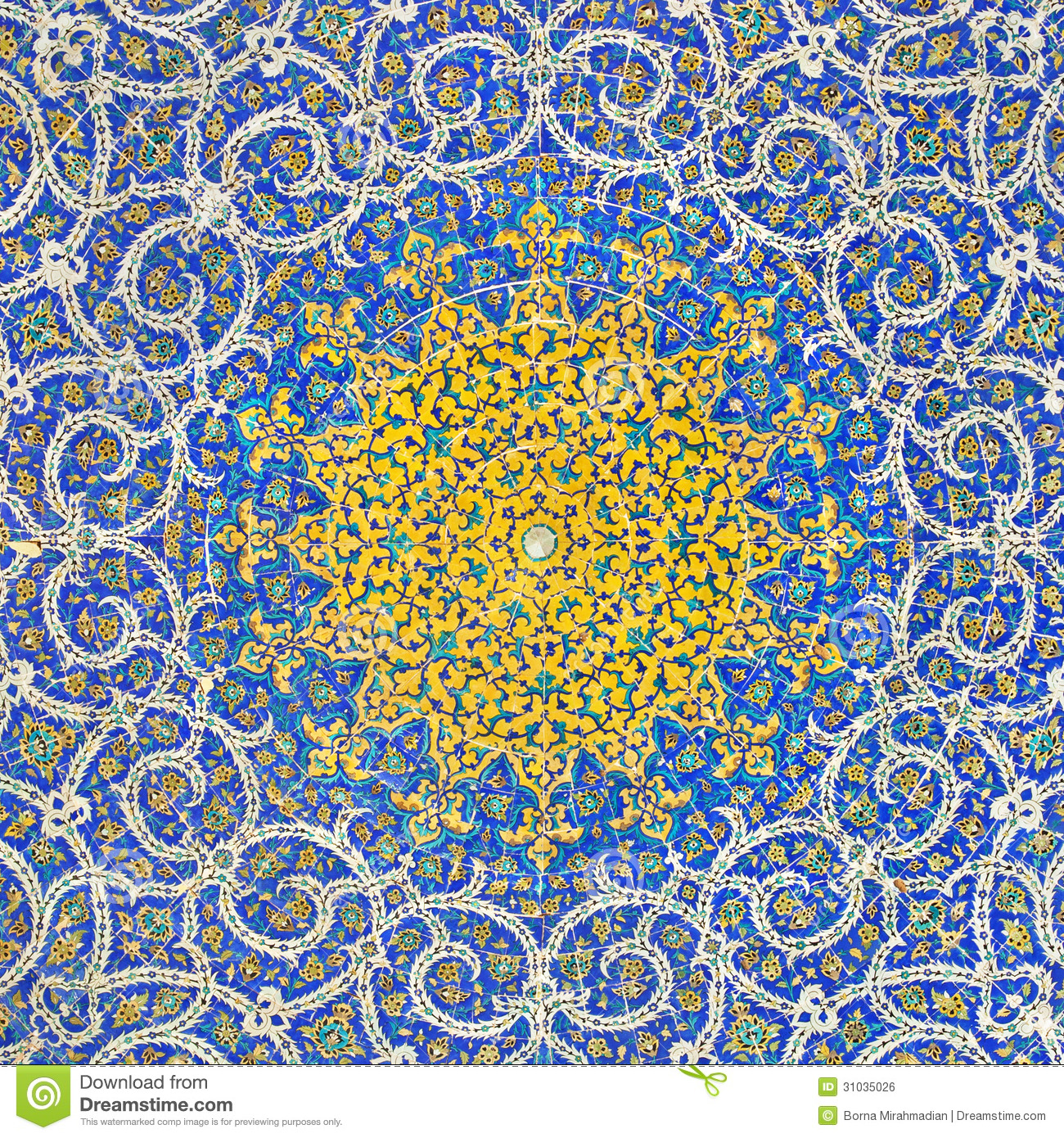Islamic persian motif on blue tiles of a mosque stock for Arabesque style decoration