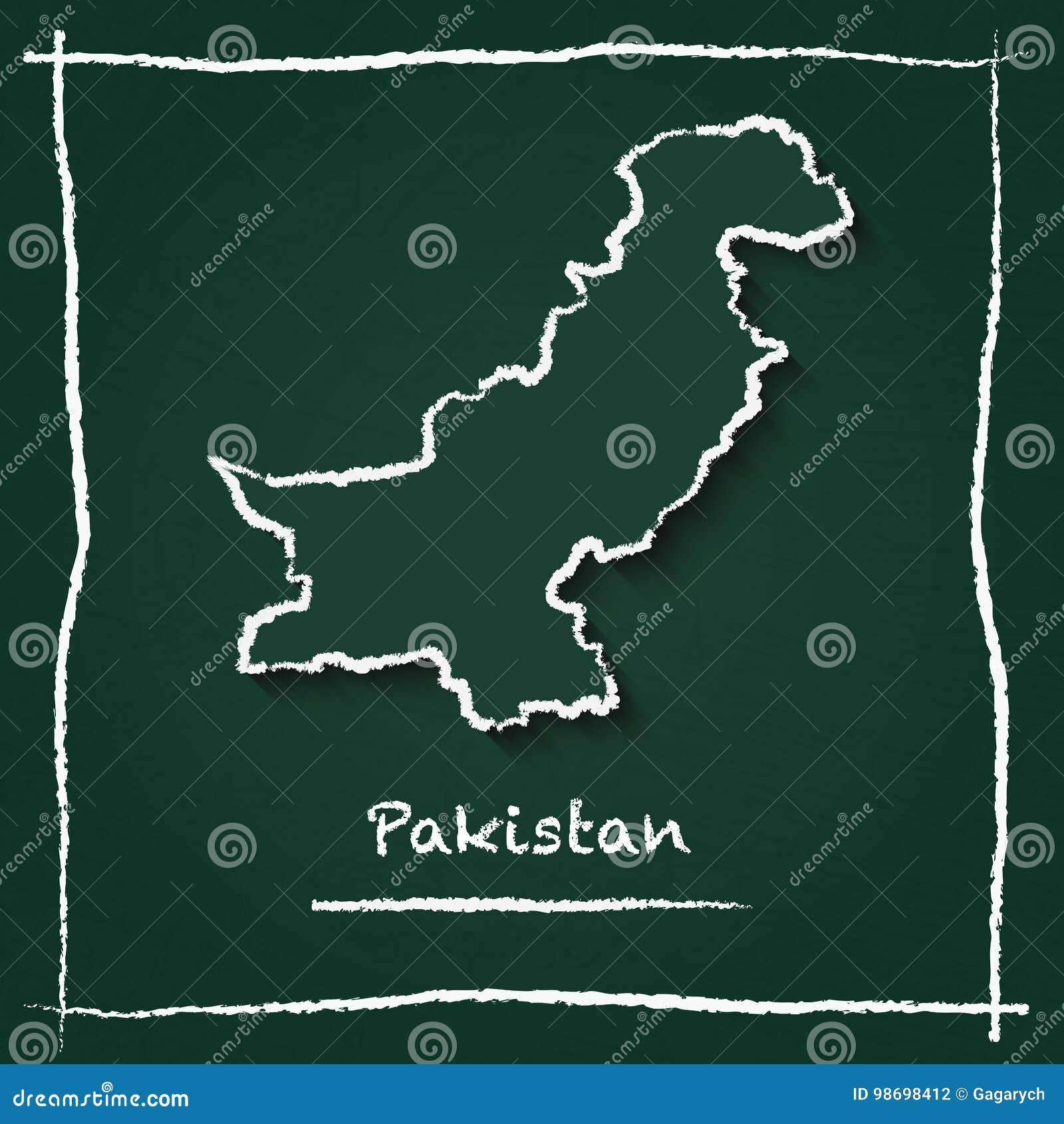 Islamic Republic Of Pakistan Outline Vector Map  Stock