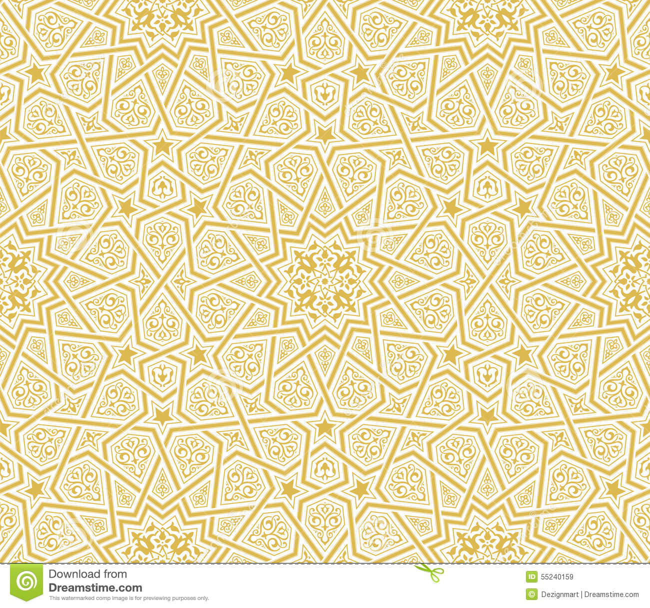 Islamic Star Ornament Golden Background Stock Vector - Image: 55240159