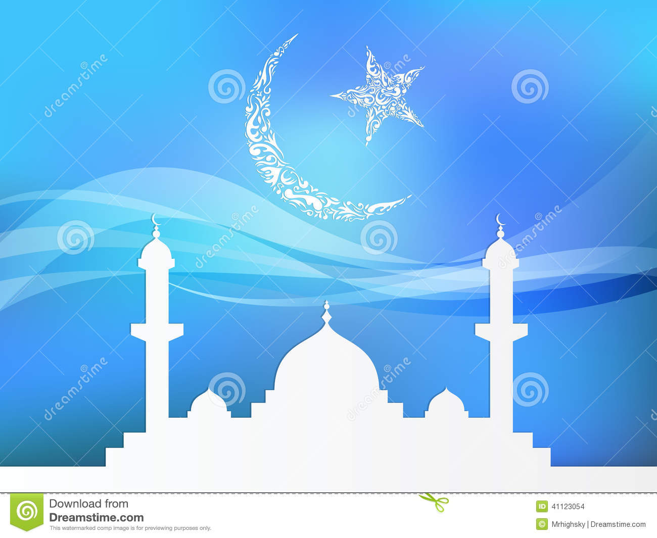 Islamic theme based background with crescent star and mosque.