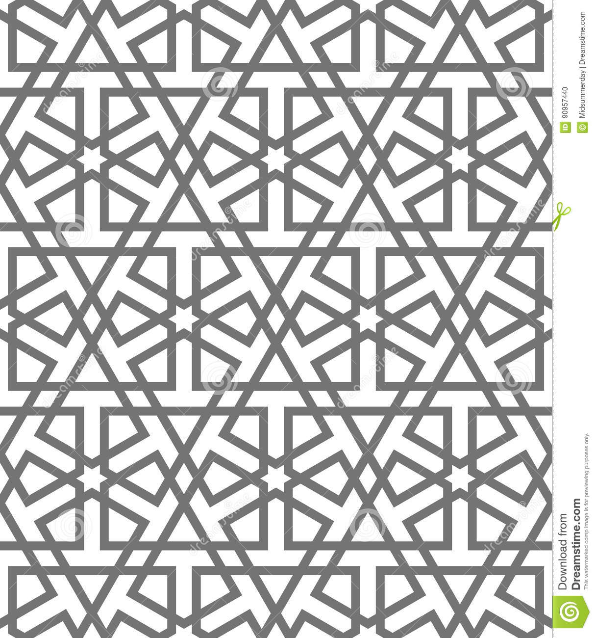 Vector of moroccan tile seamless pattern tile for design tile - Arabian Arabic Art Background Design Geometric Islamic Moroccan Mosaic Mosque Muslim Oriental Pattern Seamless Tile Traditional Turkish Vector White