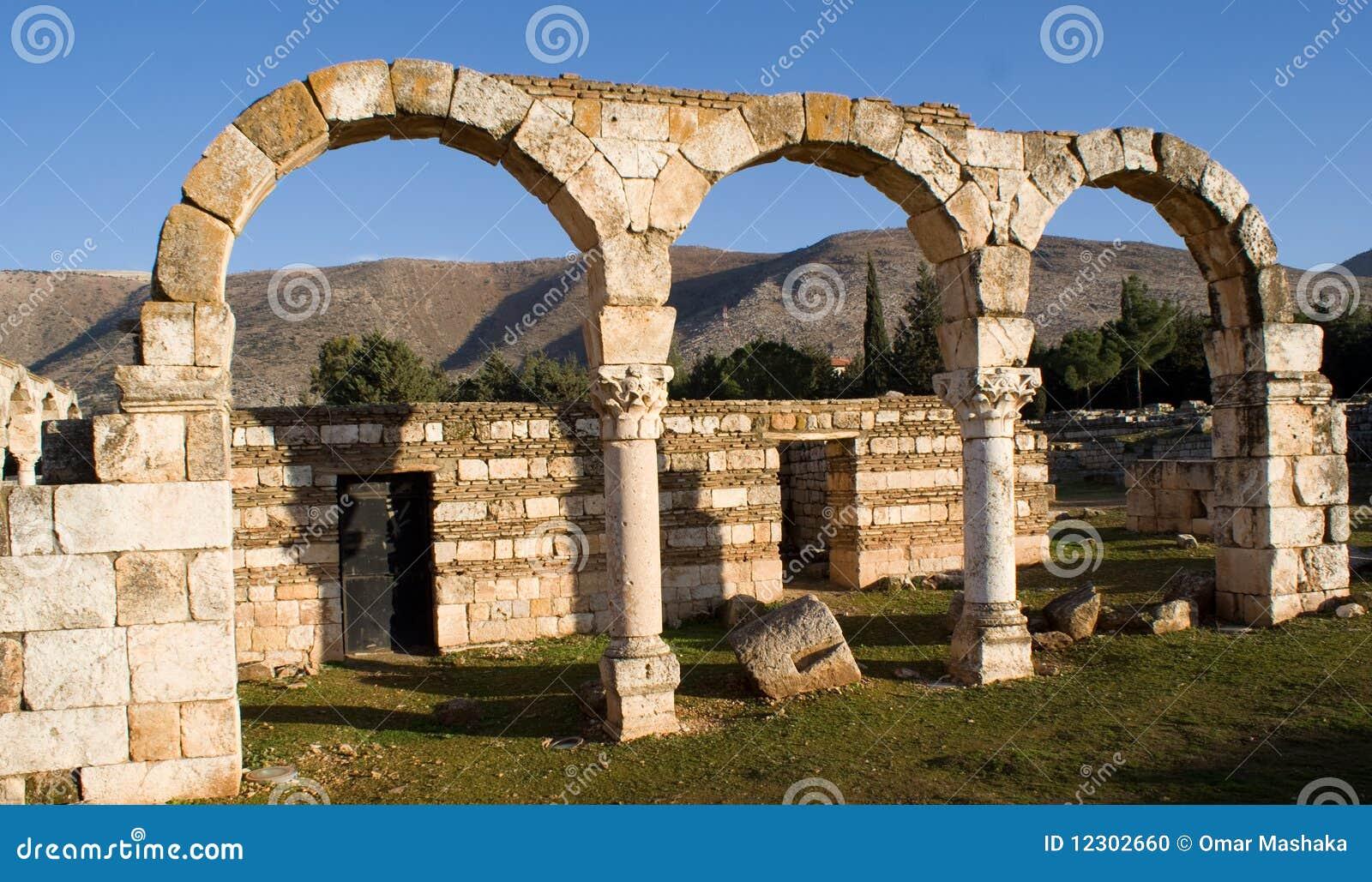 Islamische Ruinen in Anjar der Libanon