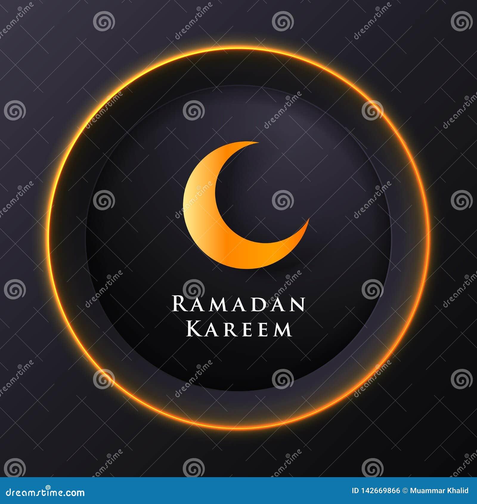 Islamischer Kreis für Ramadan-kareem Vektorgruß-Fahnenhintergrund mit Kunstdruckpapier-Schnittart, glänzendem Mond und Moscheenla