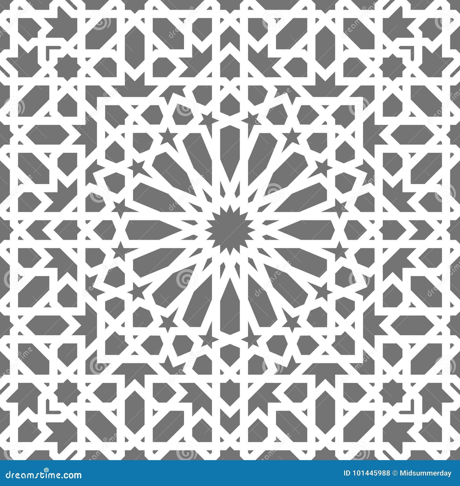 Islamisk sömlös vektormodell Vita geometriska prydnader som baseras på traditionell arabisk konst Orientalisk muslimmosaik