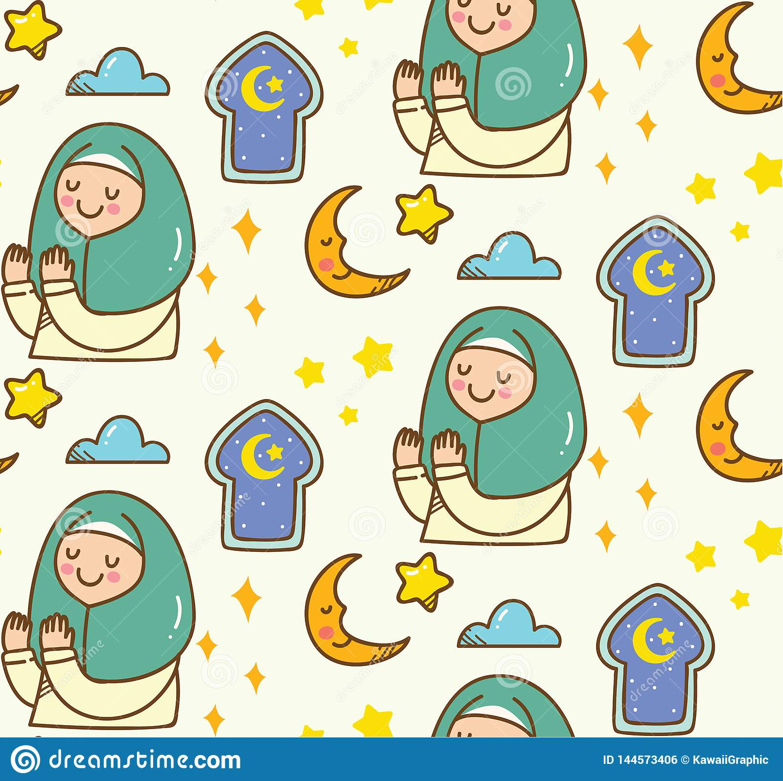 Islamisk tecknad filmklotterbakgrund för Eid alfitr eller ramadan beröm