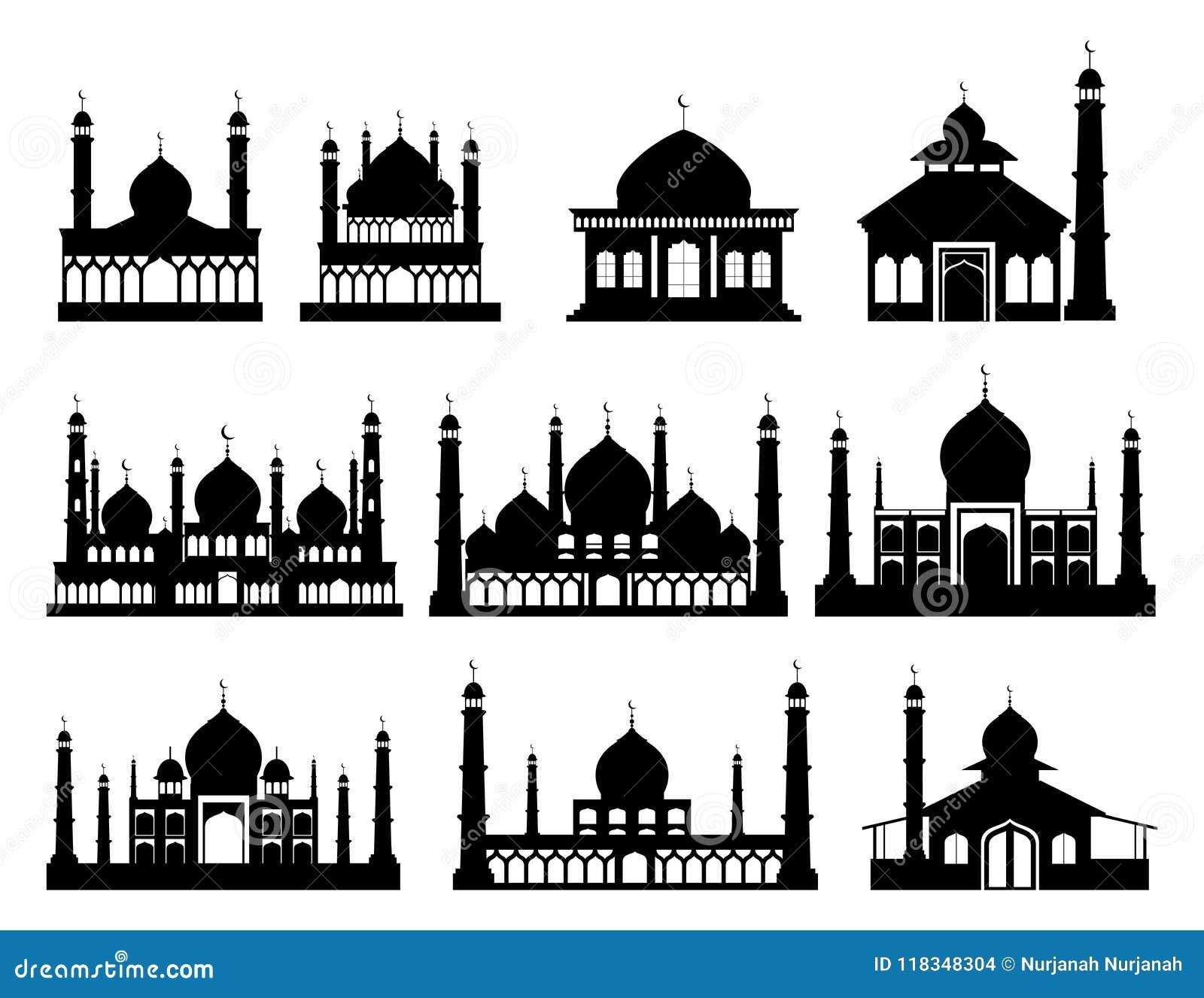 Islamiska byggnadskonturer Moskéer och minaret med halvmånformig