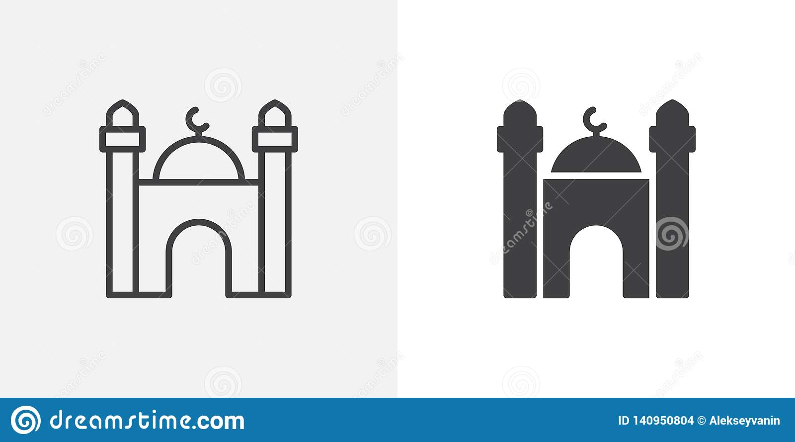 Islamitisch moskee de bouwpictogram