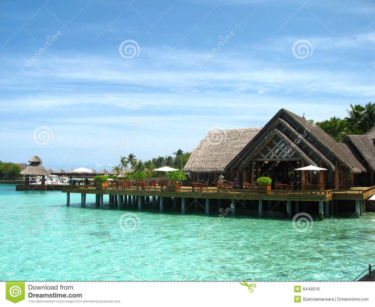 Island beach house in maldives stock photo image of for Haus island