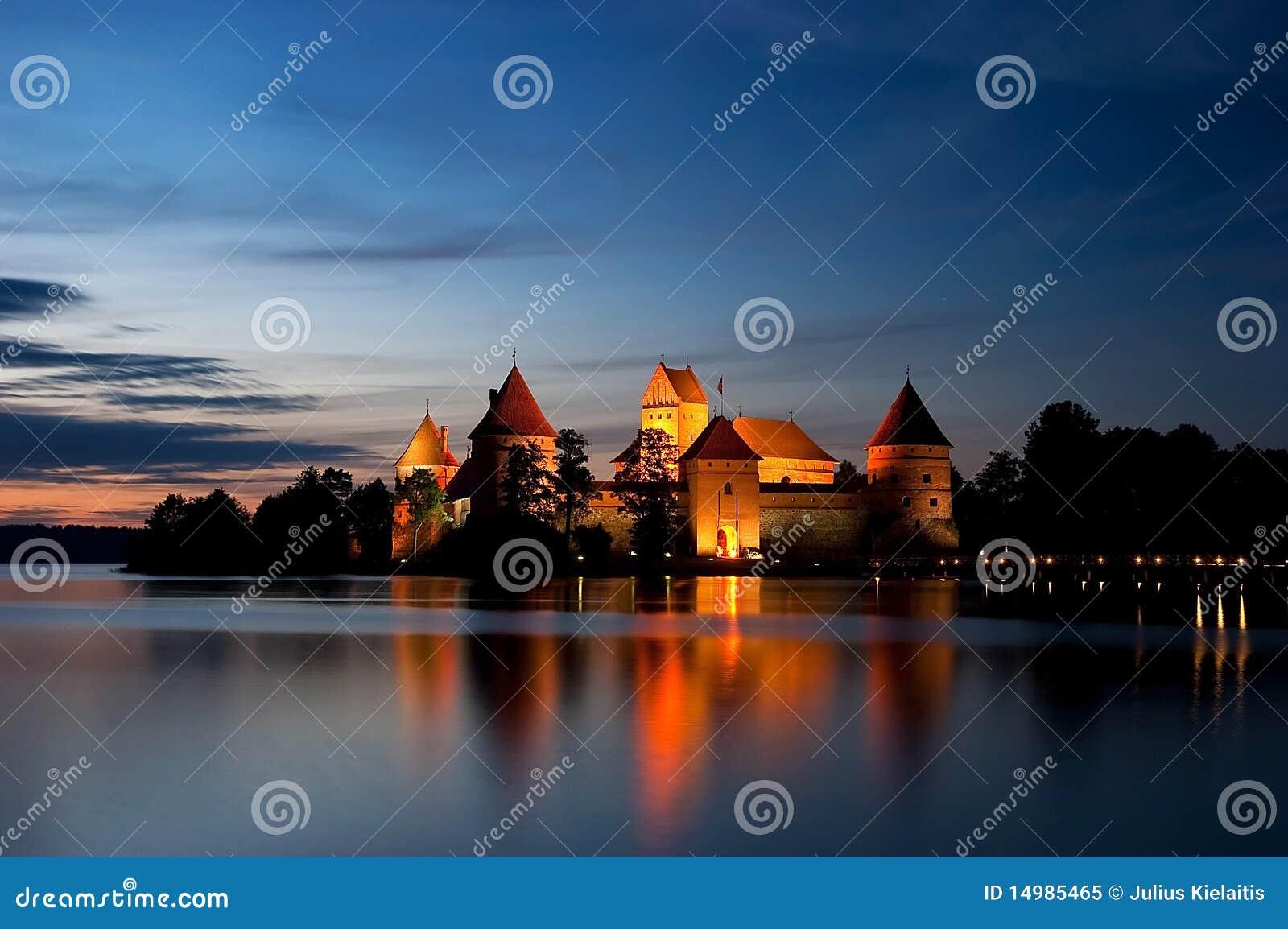 Island castle at night, Trakai, Lithuania, Vilnius