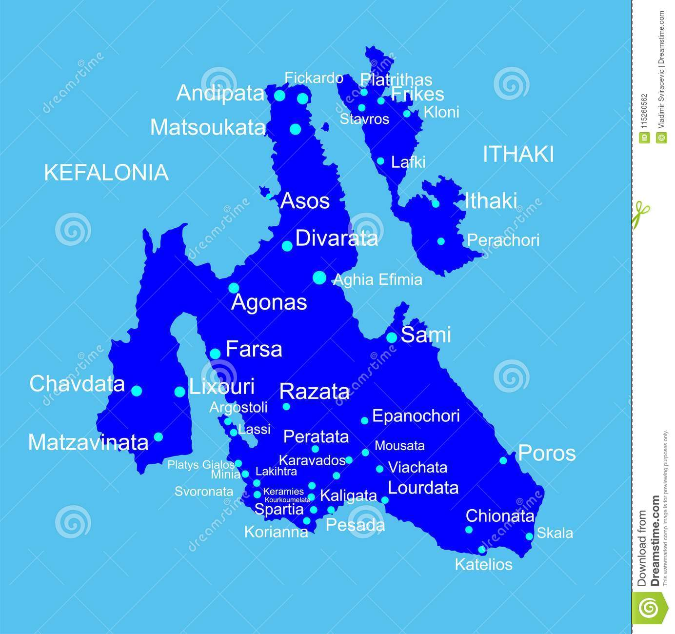 Island Of Cephalonia In Greece Vector Map Silhouette And Ithaca
