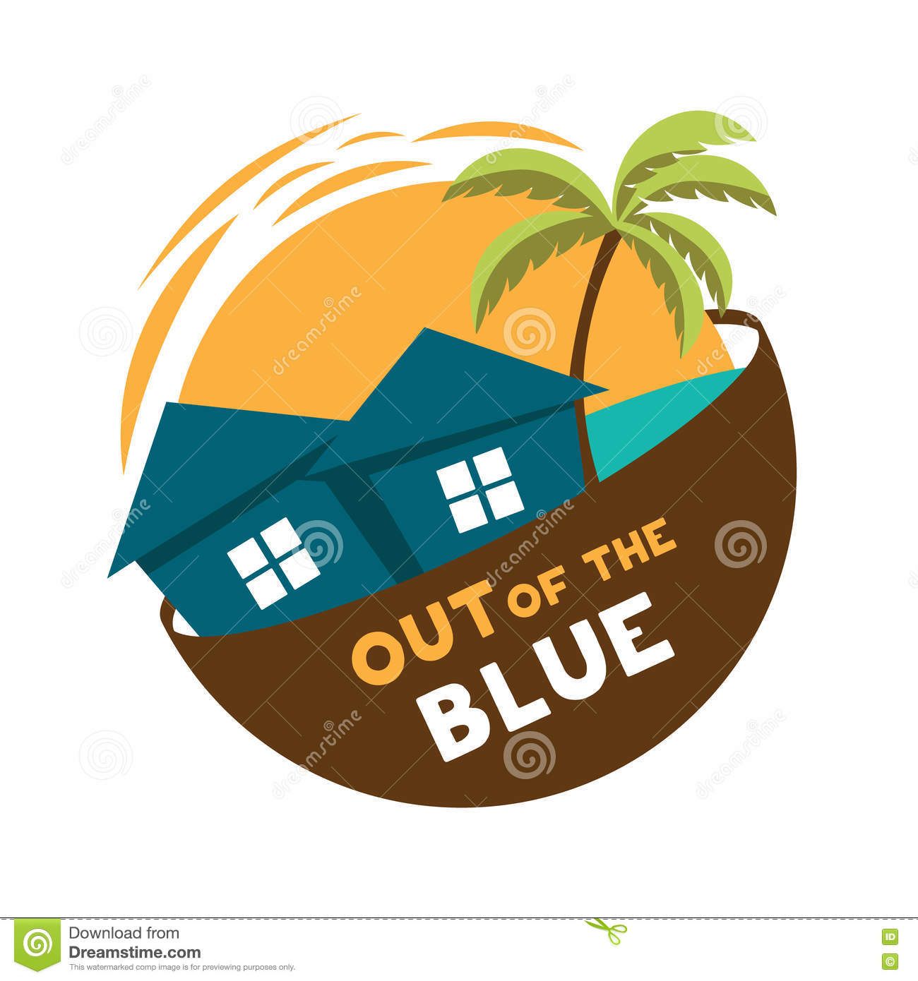 Island Cottage Vector Logo Out Of The Blue