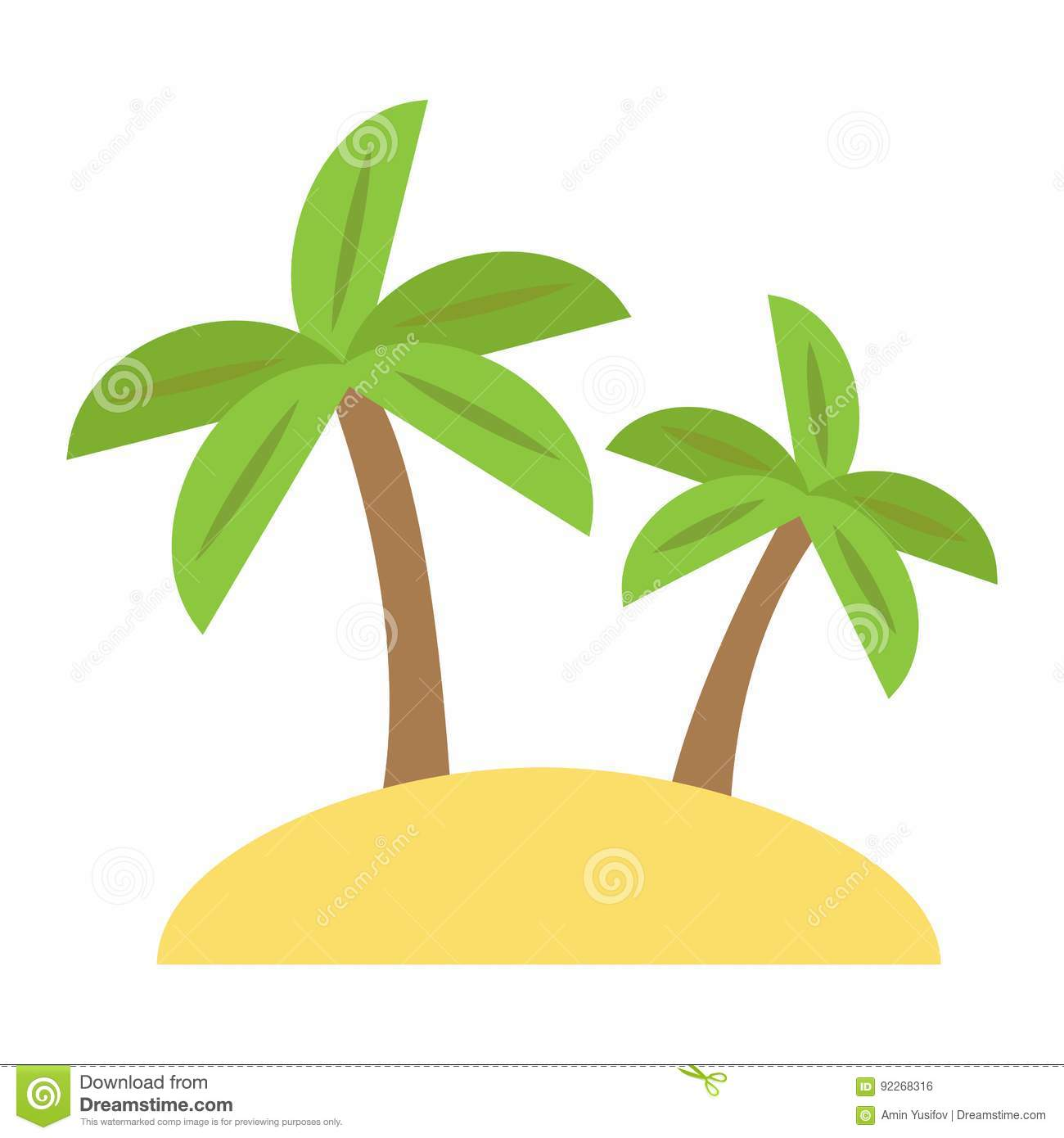 Island Flat Icon, Travel And Tourism, Palm Trees Stock Vector ...