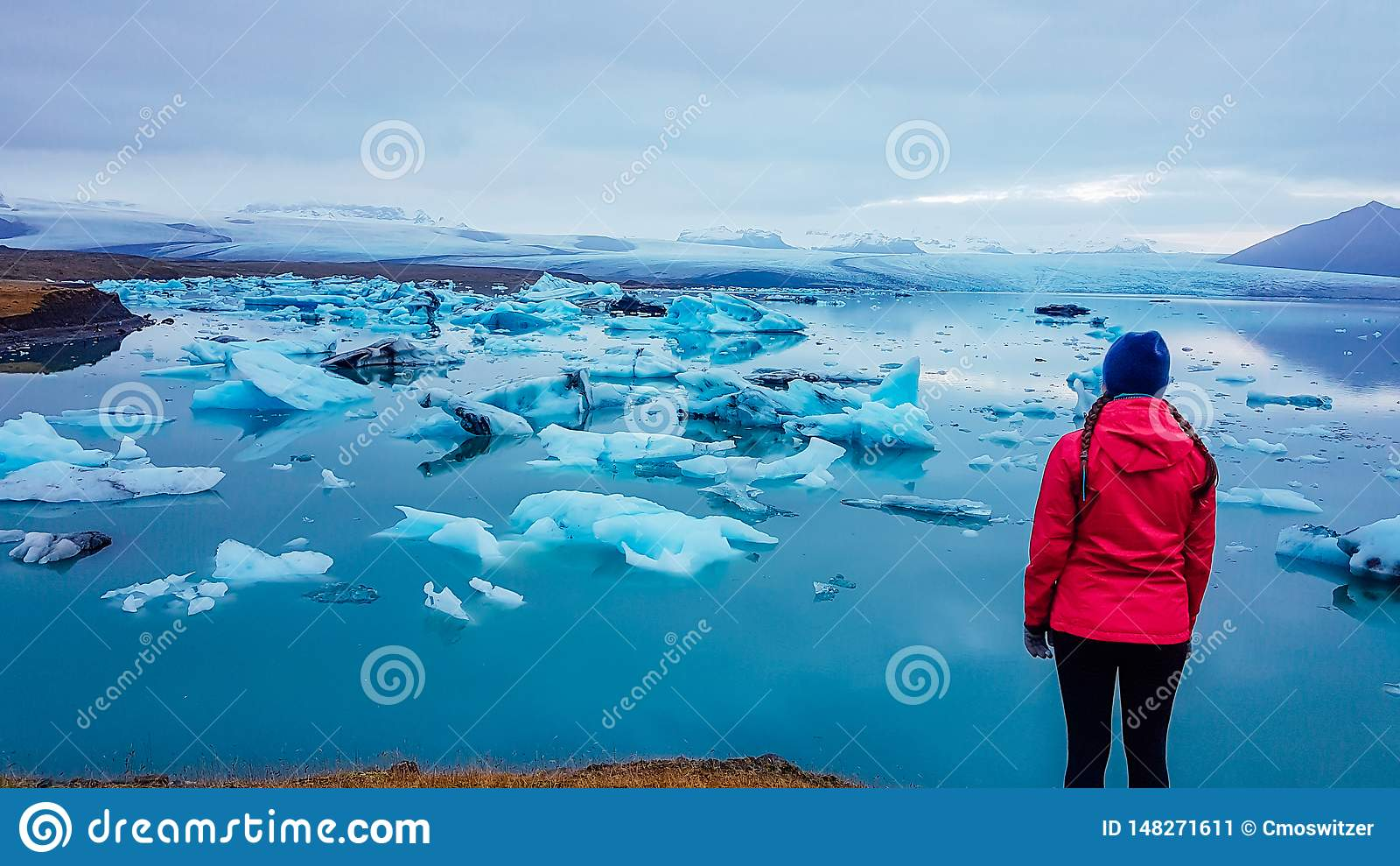 Island - flicka p? glaci?rlagun