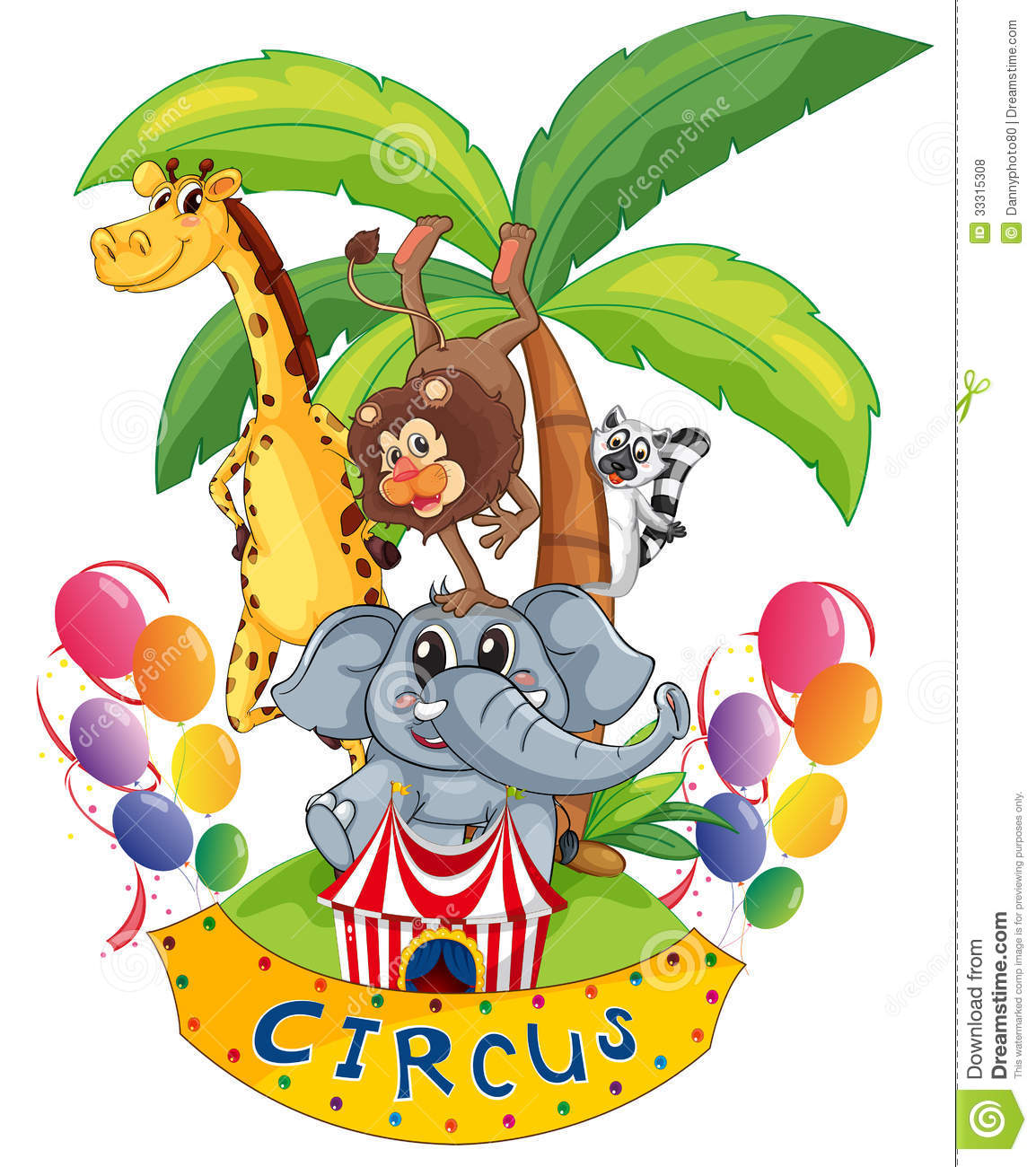 An Island Full Of Circus Animals Royalty Free Stock Photos - Image ...