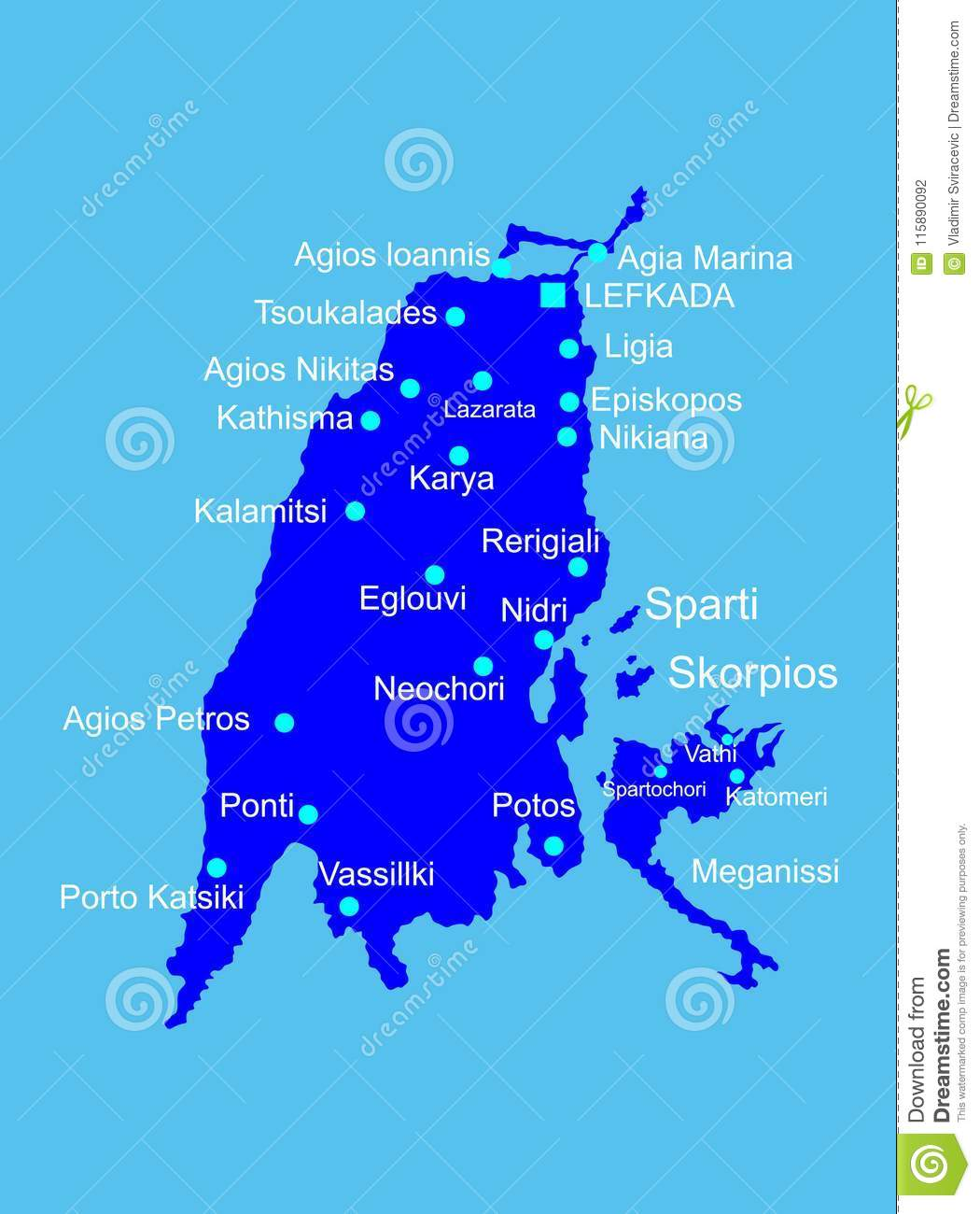Islands Of Greece Map.Island Of Lefkada In Greece Vector Map Silhouette Stock