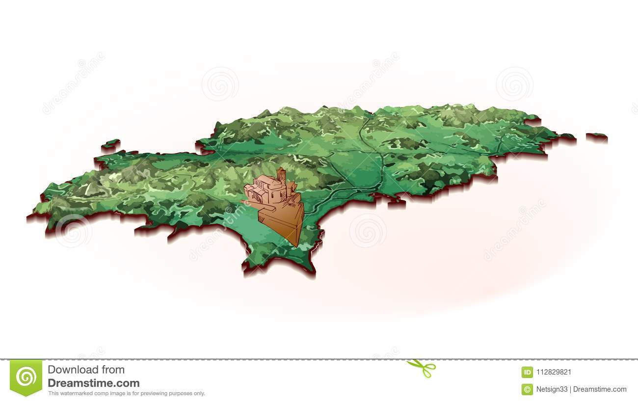 Island Map Of Ibiza With Drawing Stock Vector - Illustration of ...