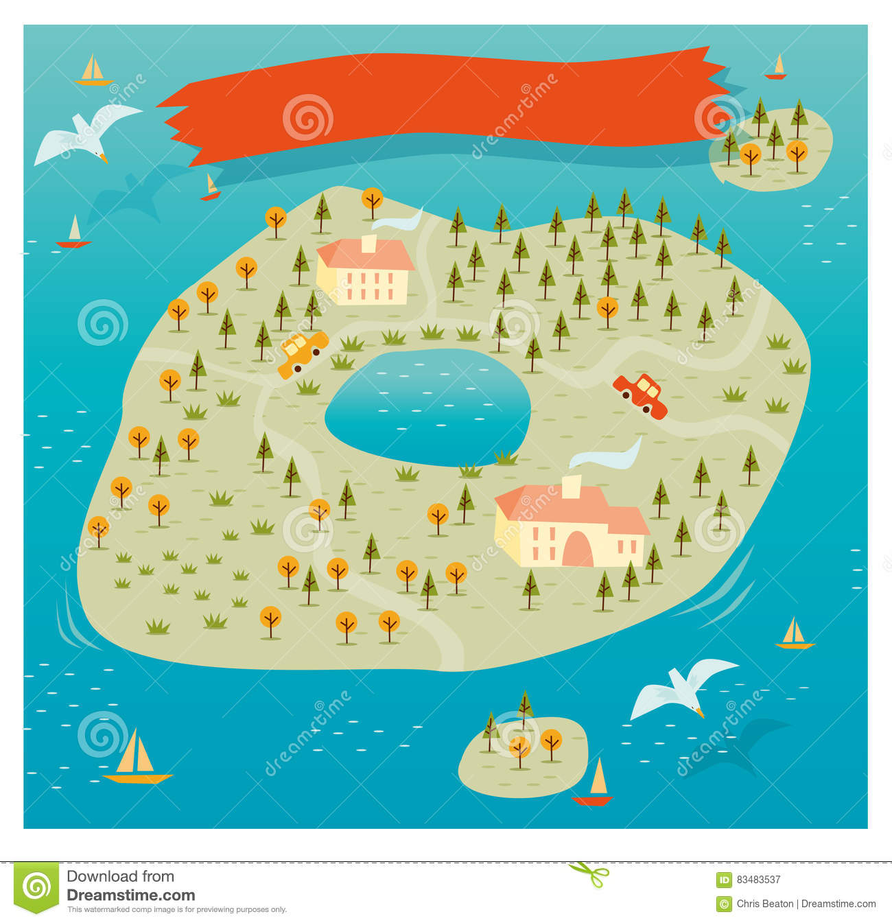 Design Your Own Island Map Island Map Vector stock vector. Illustration of maritime   83483537