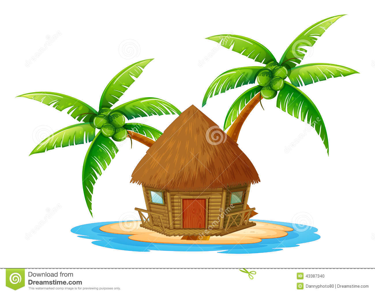 An Island With A Nipa Hut Stock Vector Image 43387340