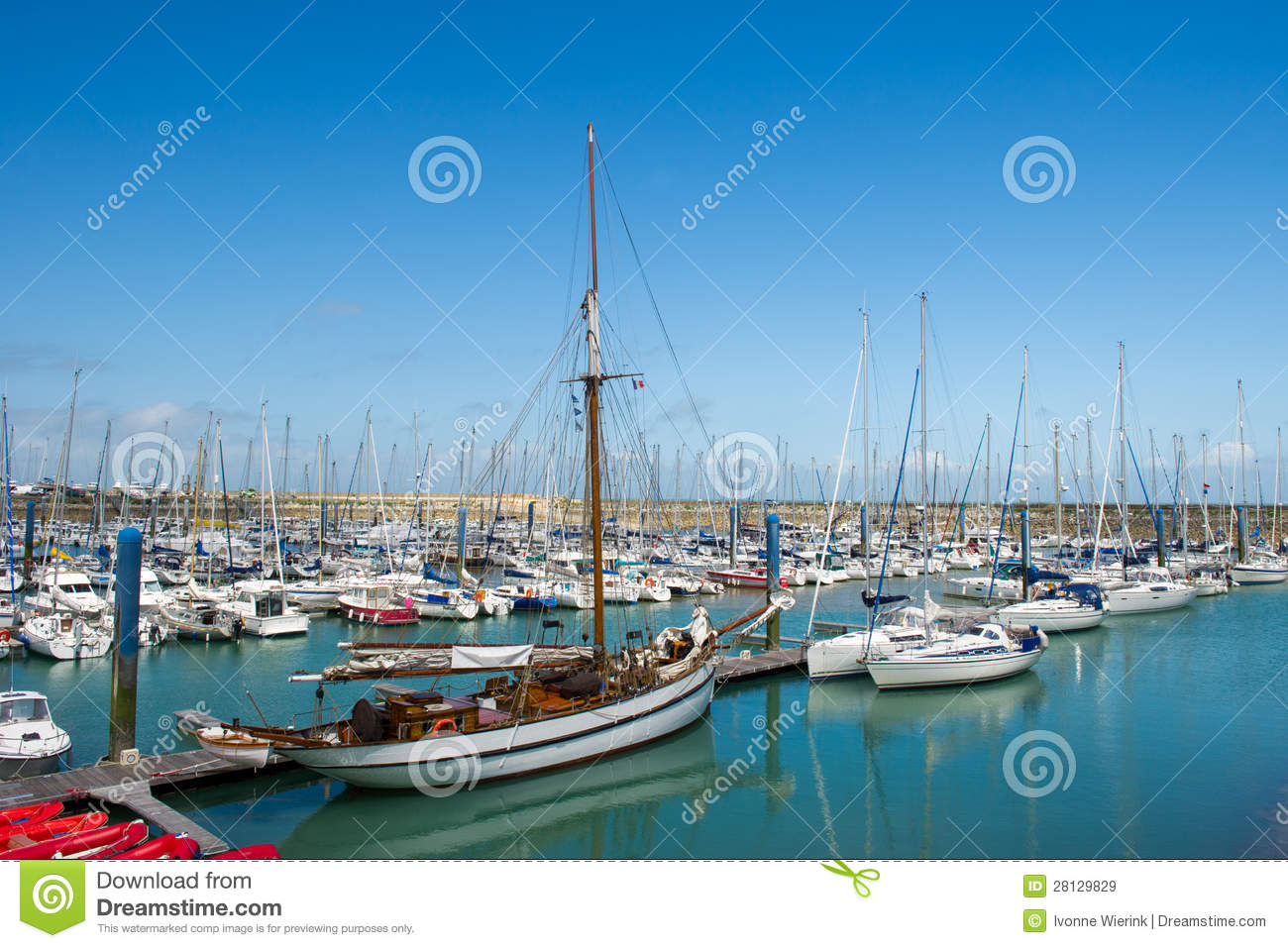 Island Oleron in France with yachts in harbor