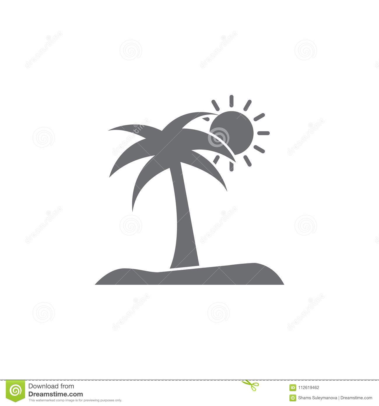 Island With A Palm Tree Icon Simple Element Illustration Island