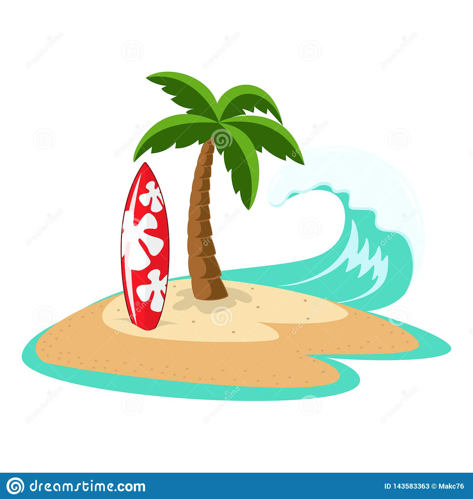 Island With Palm Tree And Surfboard Stock Vector ...