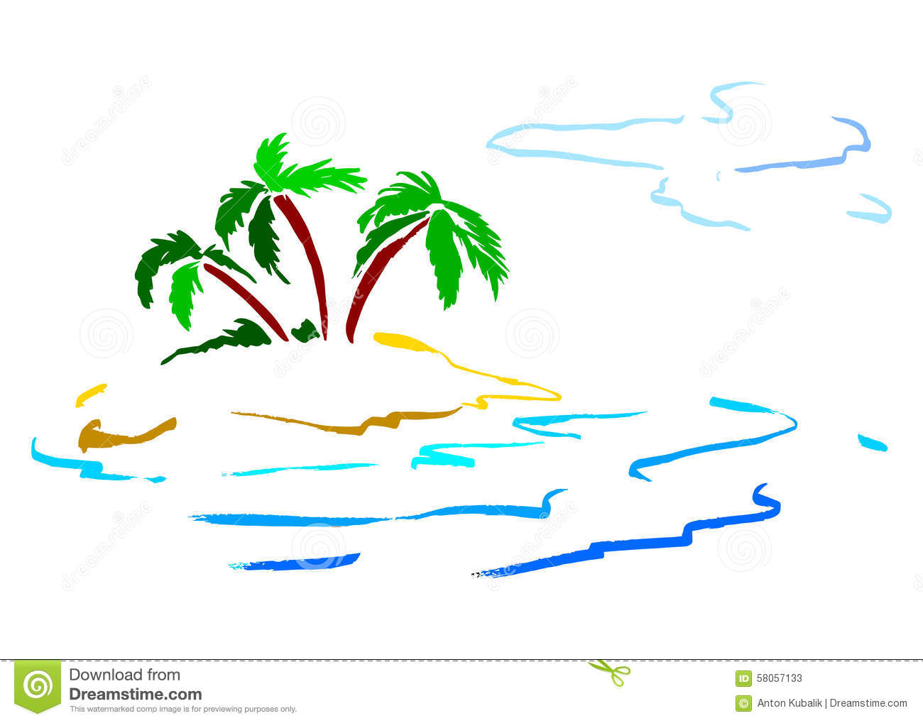 Island With Palm Trees Stock Vector Image 58057133
