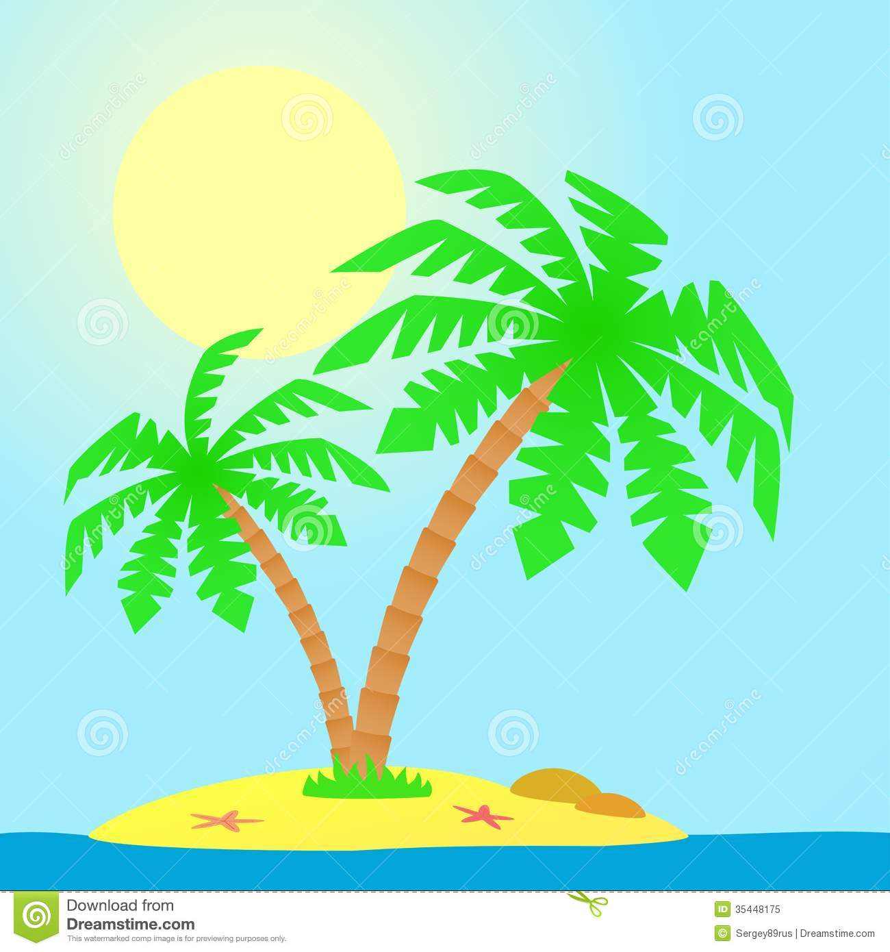 Palm Tree Island: Island With Palm Trees. Stock Vector. Illustration Of Leaf