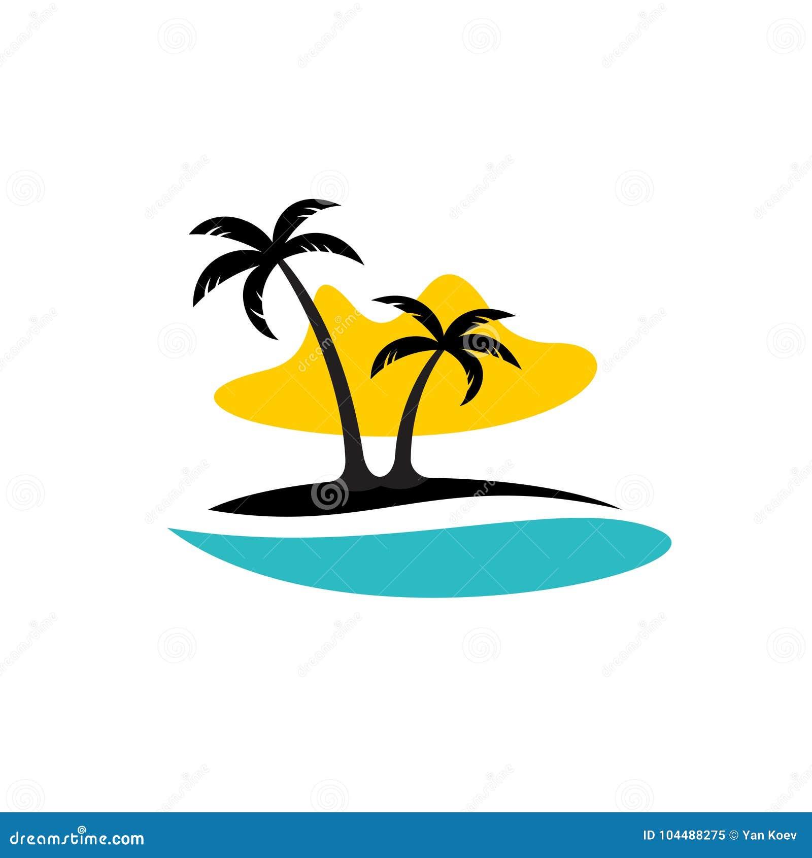 Island With Palms, Sea And Sun Logo Stock Vector
