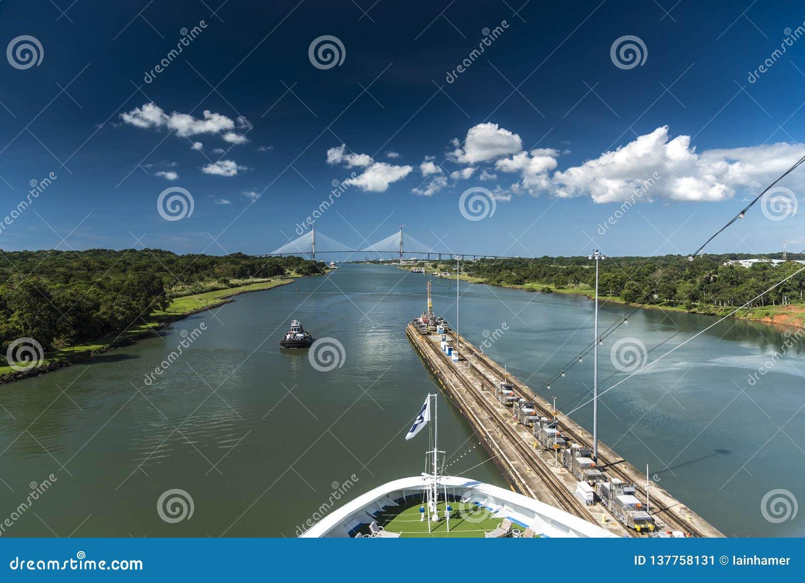Island Princess exiting the Gatun Locks Panama canal