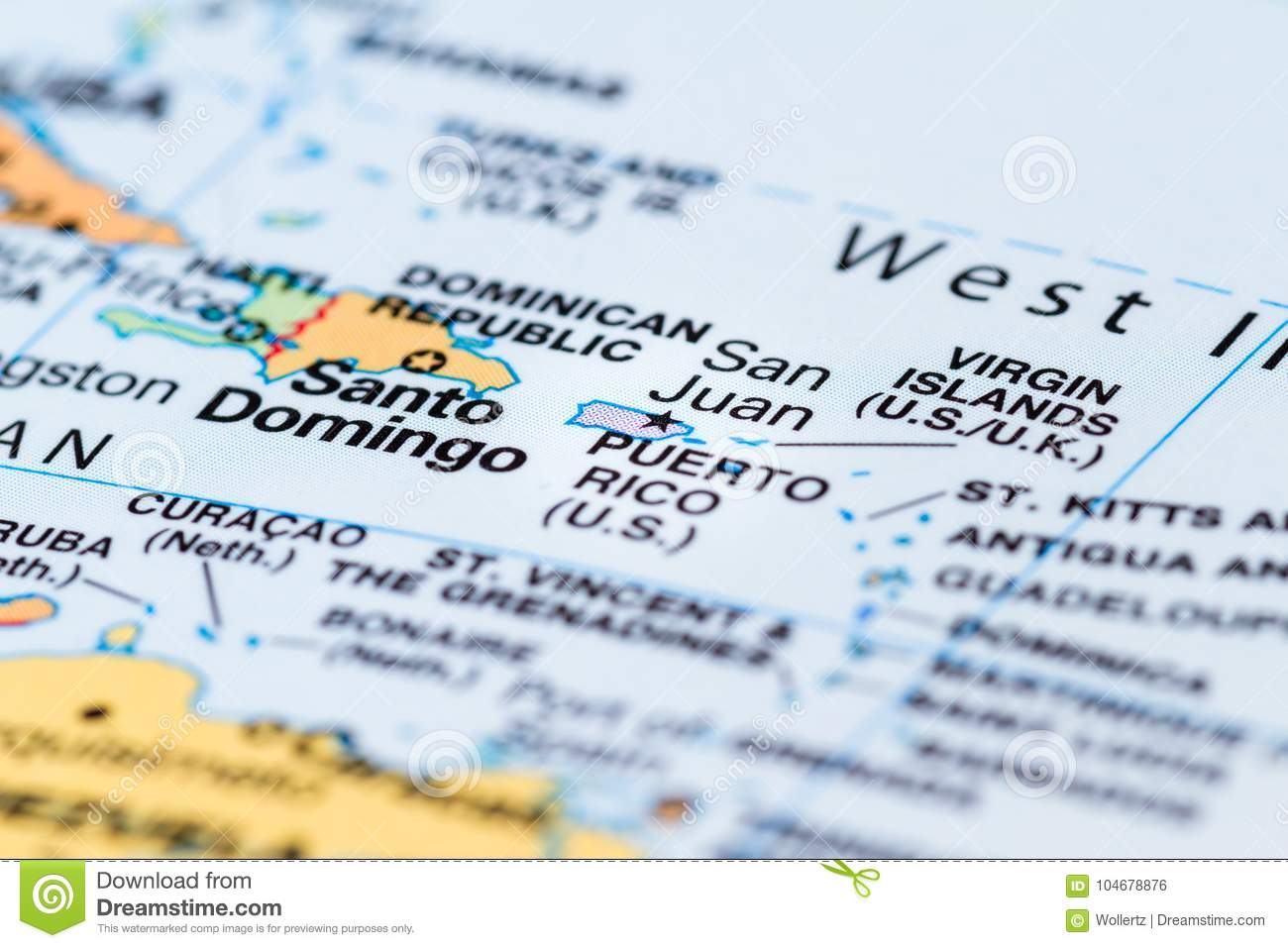 Puerto Rico on a map stock photo. Image of mapping, hurricane ...