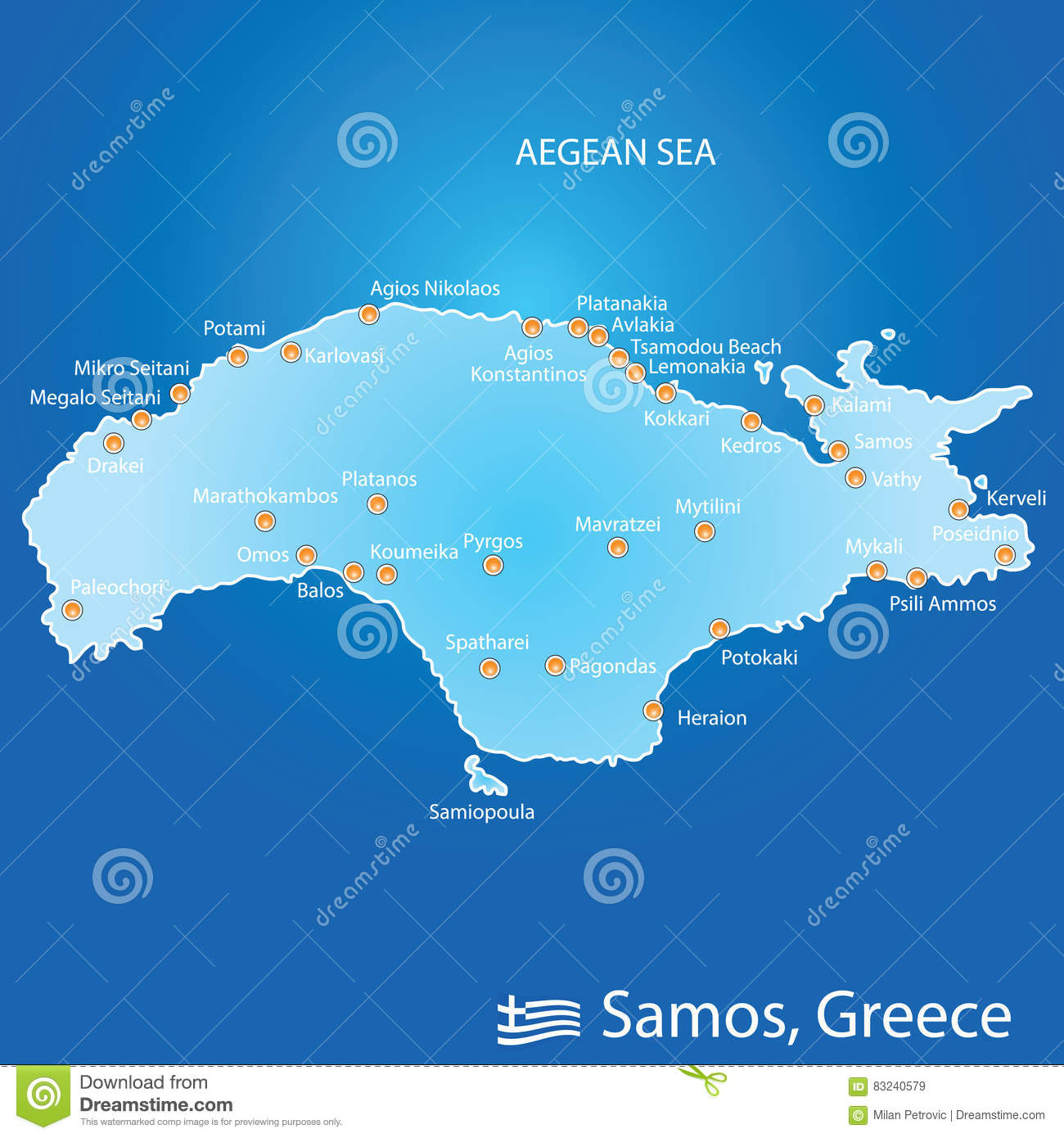 Island Of Samos In Greece Map Illustration In Colorful Stock