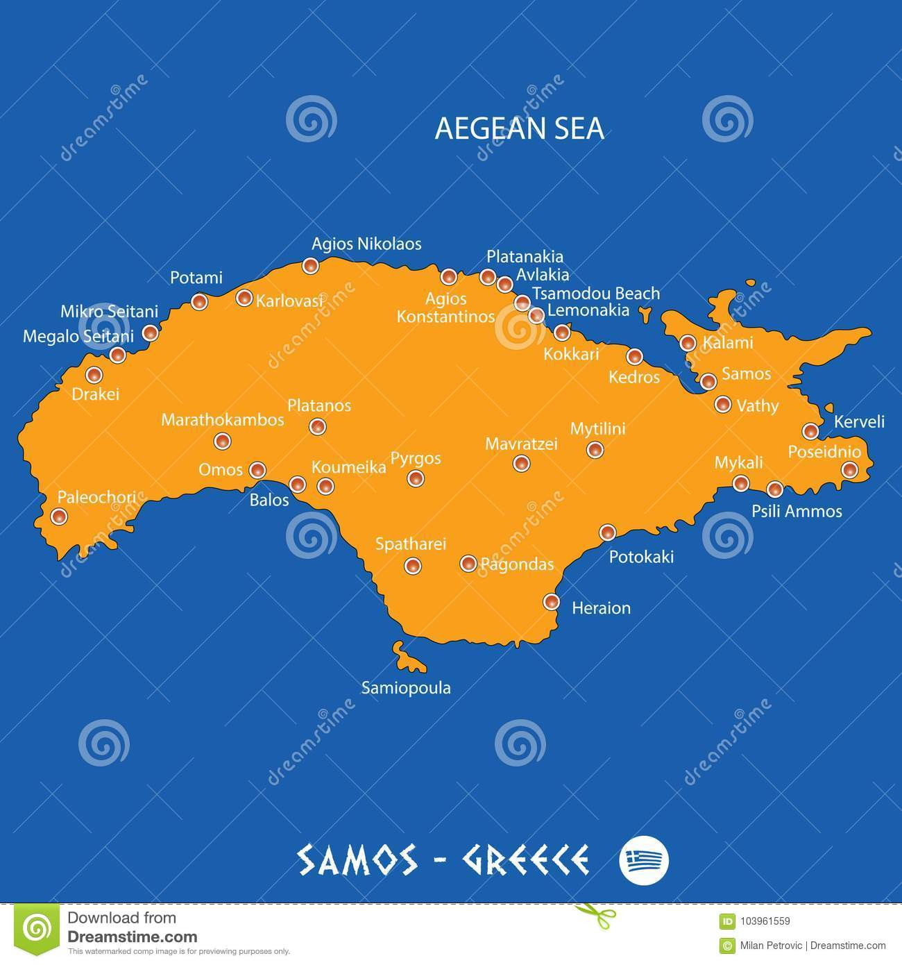 Island Of Samos In Greece Orange Map And Blue Background Stock