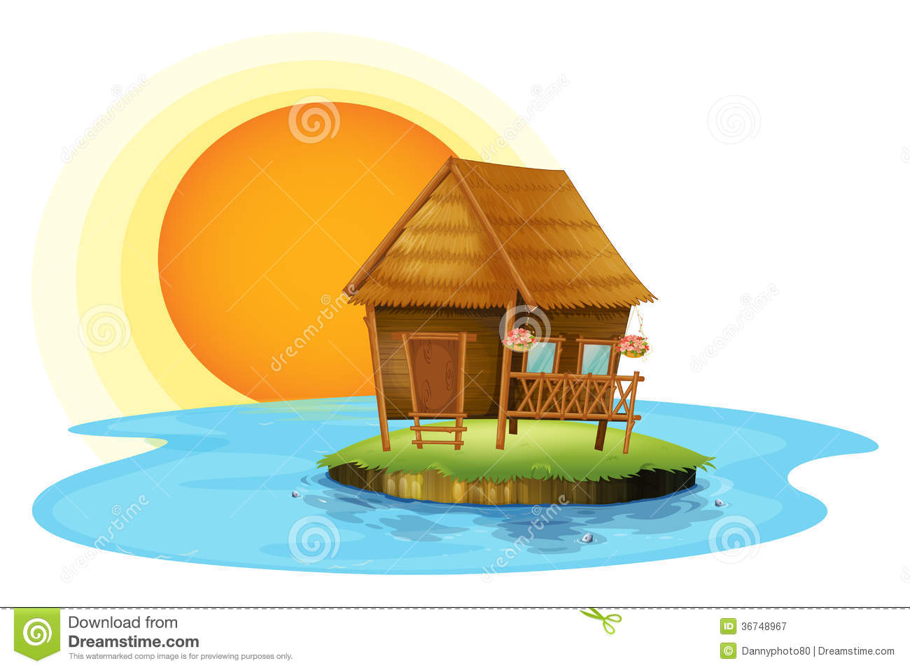 An island with a small hut royalty free stock photography for Small hut plans