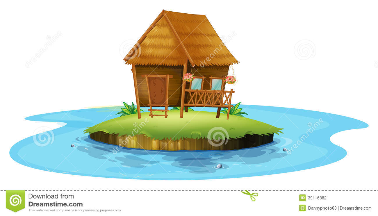 An island with a small nipa hut stock vector image 39116882 for Small hut design