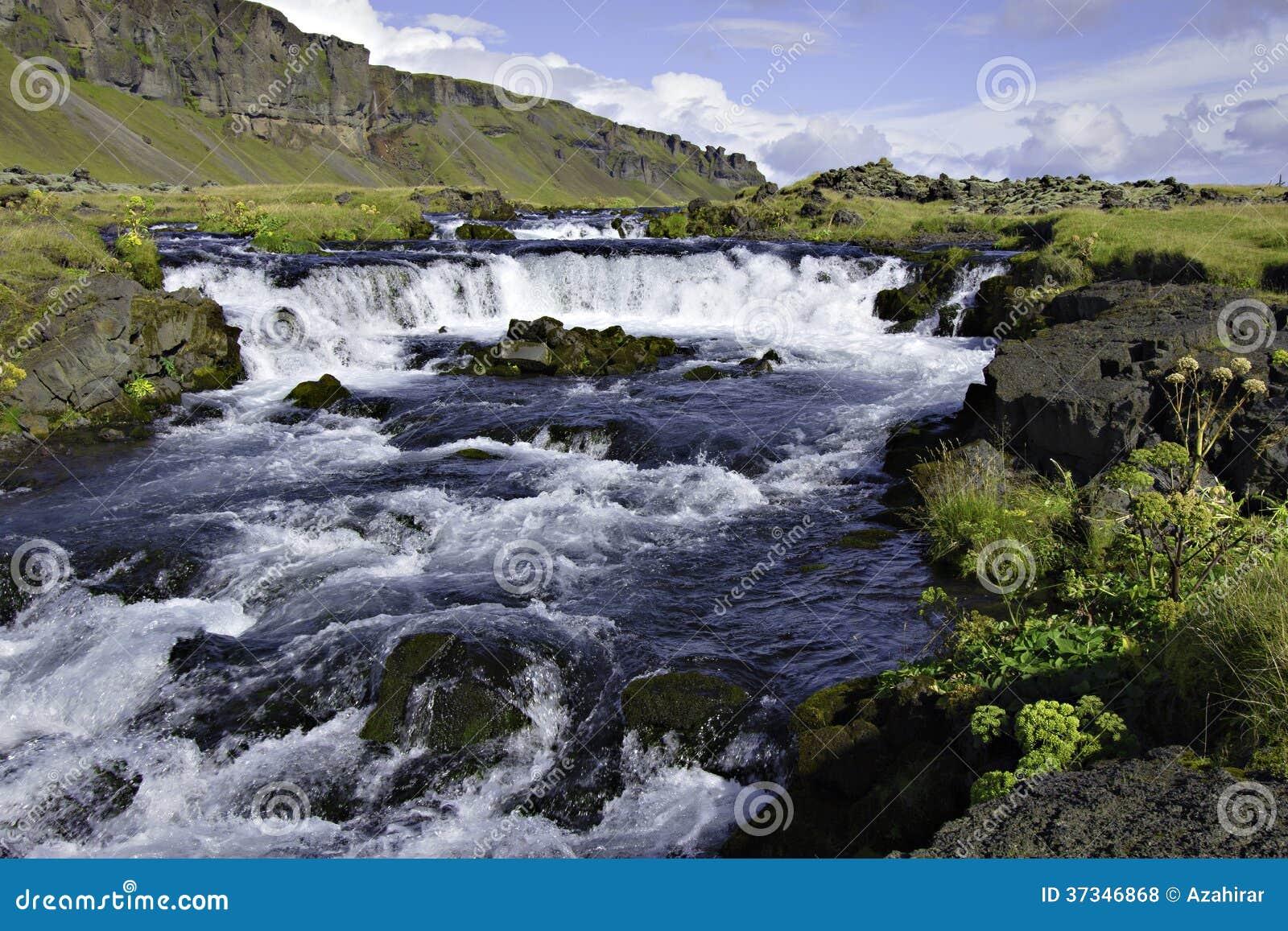 Island ström med vattenfallet