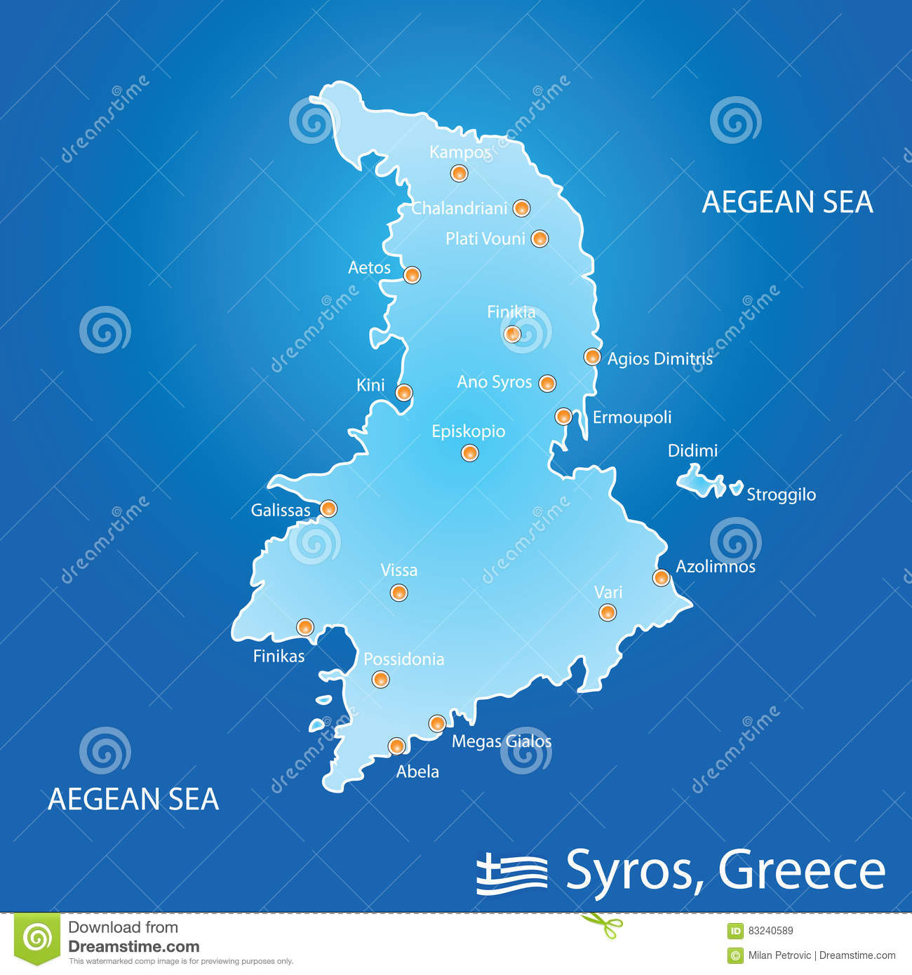 Island Of Syros In Greece Map Illustration In Colorful Stock Vector