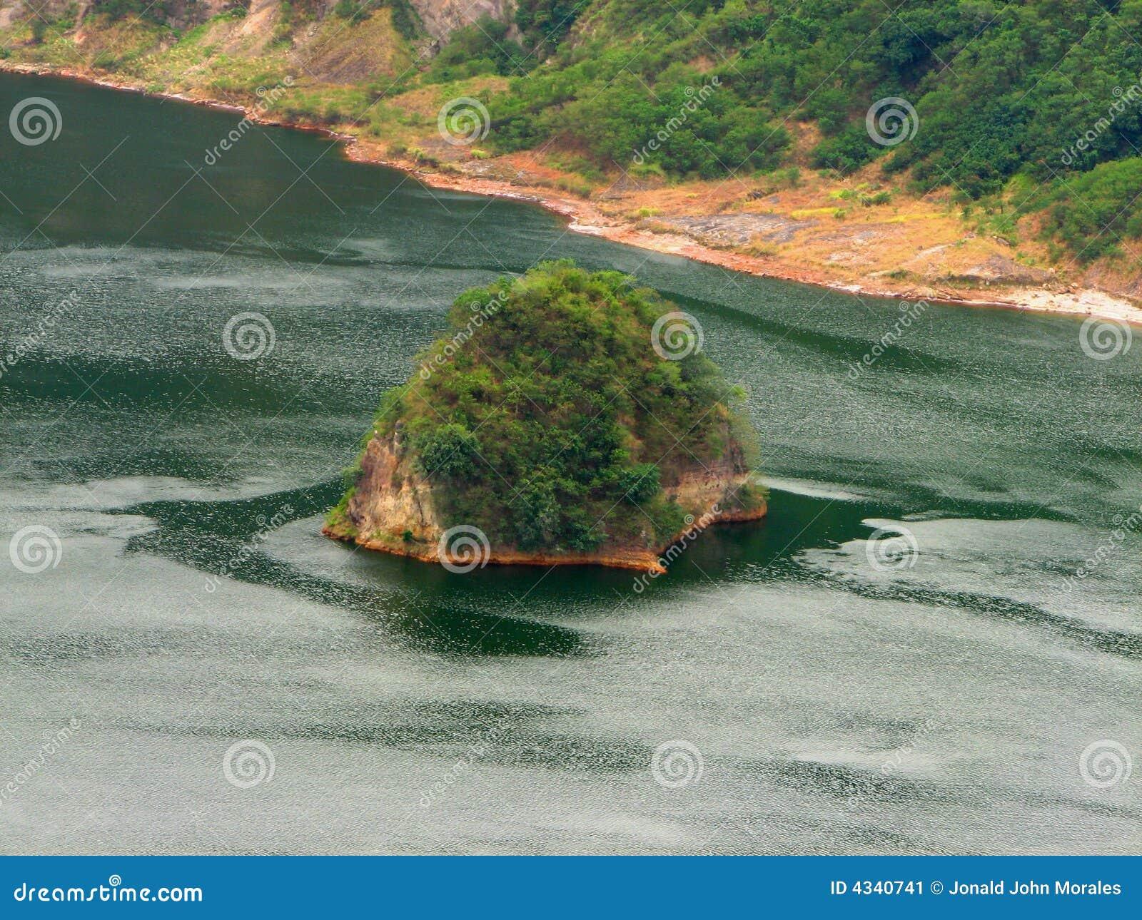 Island Within Taal Volcano Caldera Lake Stock Image
