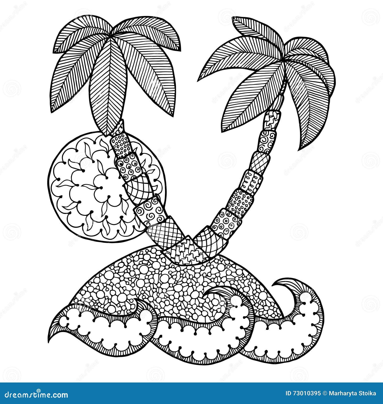 Zen ocean colouring book - Beach Book Coloring Contour Doodle Island Ocean