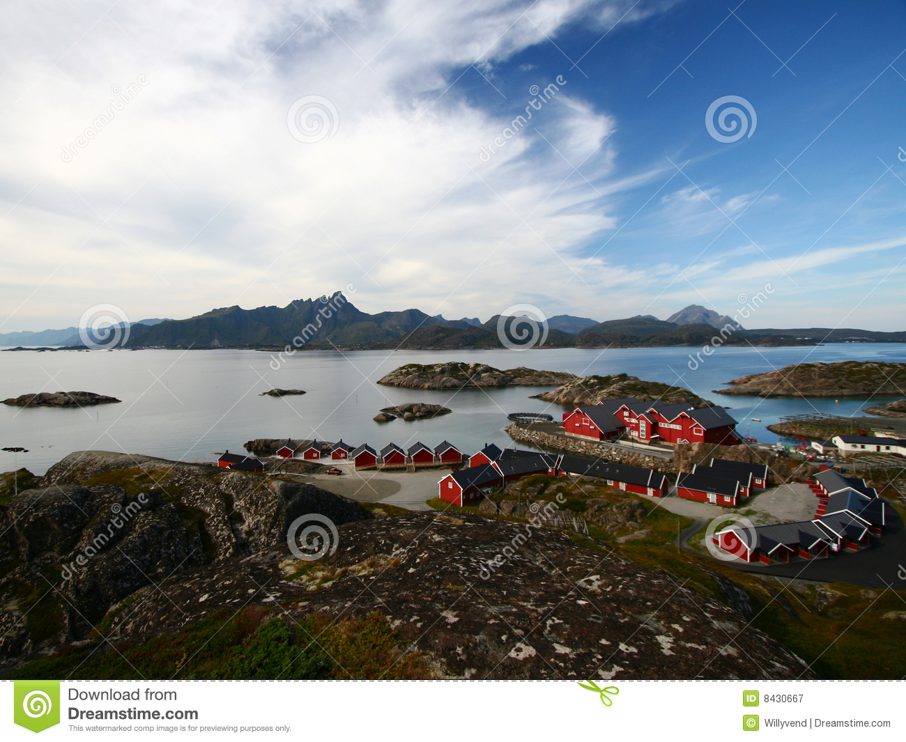 Islands and red chalets, norway