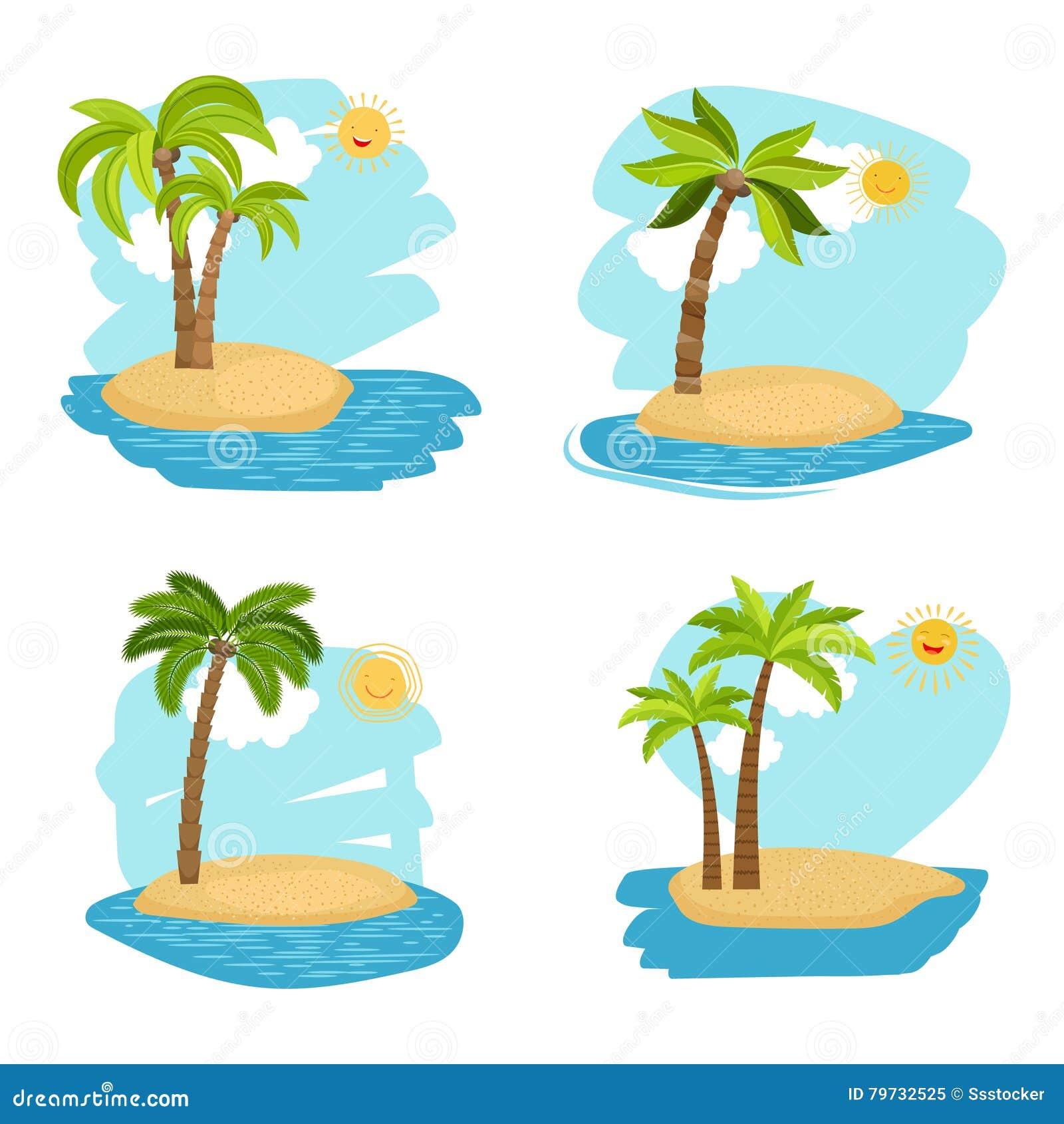 Islas de las palmeras del coco del diseño del día de fiesta