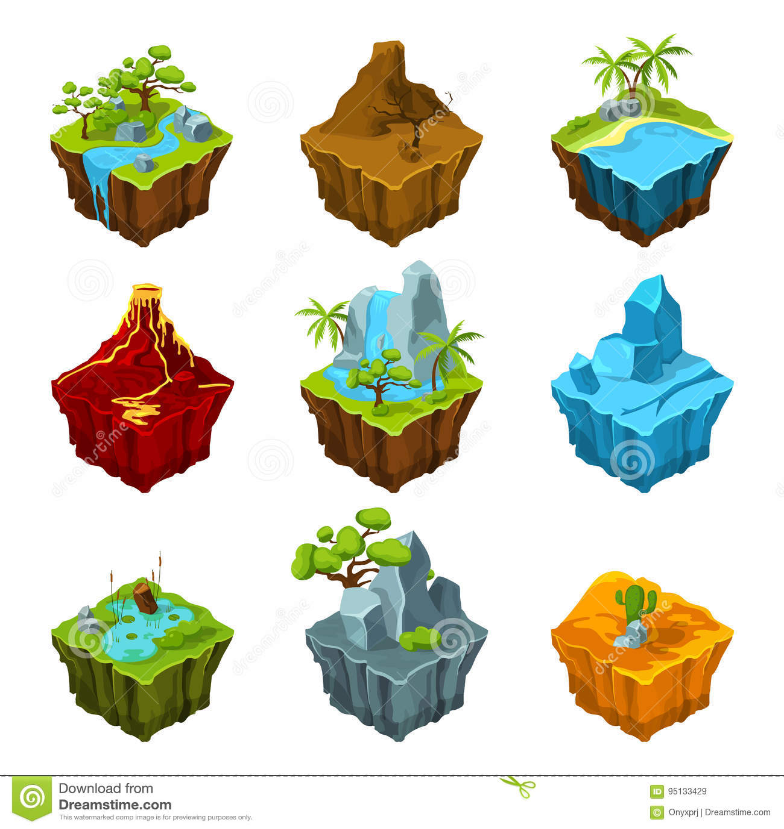 Islas isométricas de la fantasía con los vulcans, diversas plantas y los ríos Elementos del interfaz en estilo de la historieta V