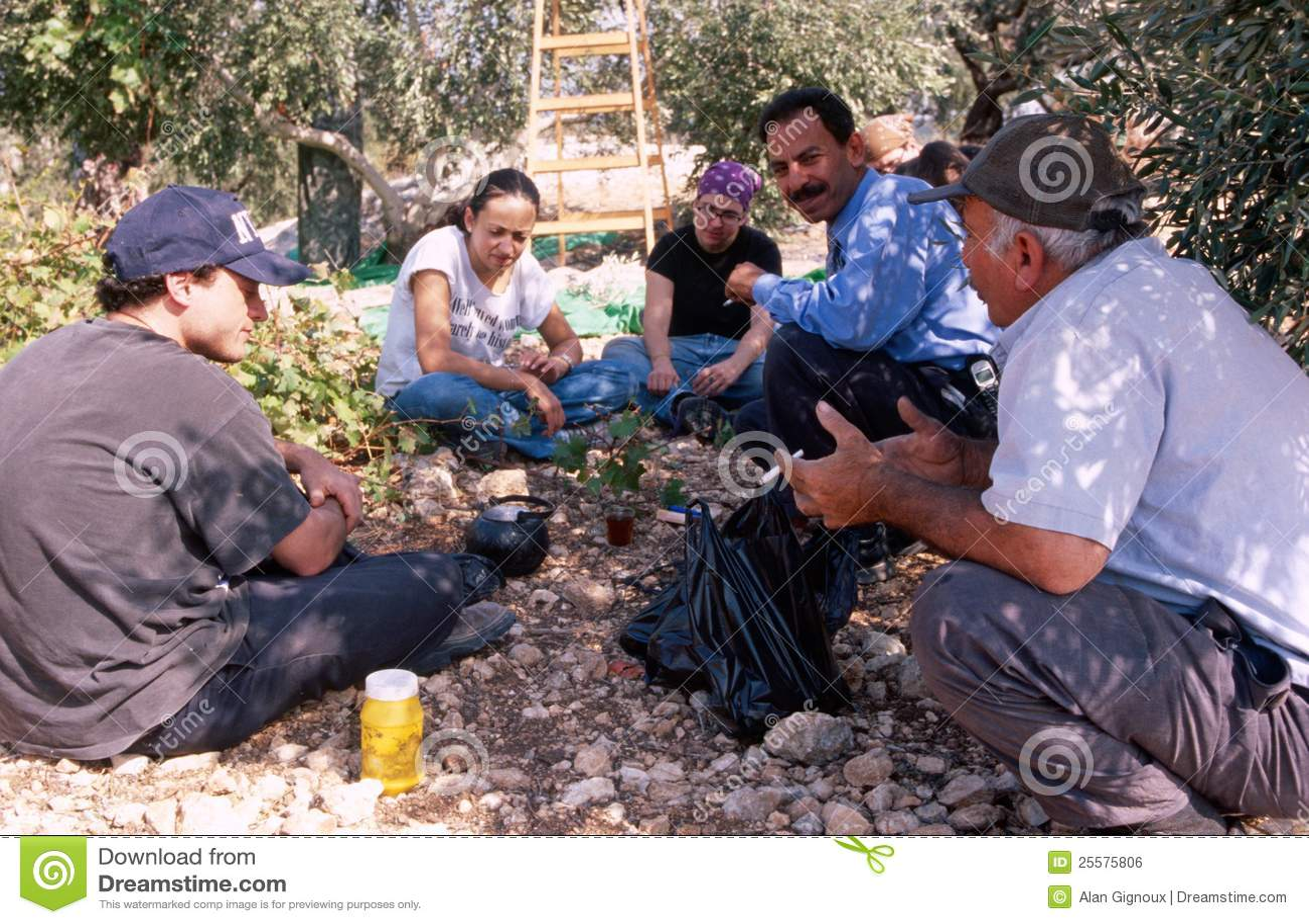 ISM volunteers taking a break in an olive grove.