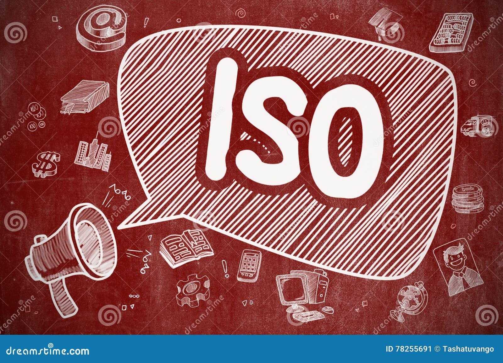 ISO - Απεικόνιση κινούμενων σχεδίων στον κόκκινο πίνακα κιμωλίας