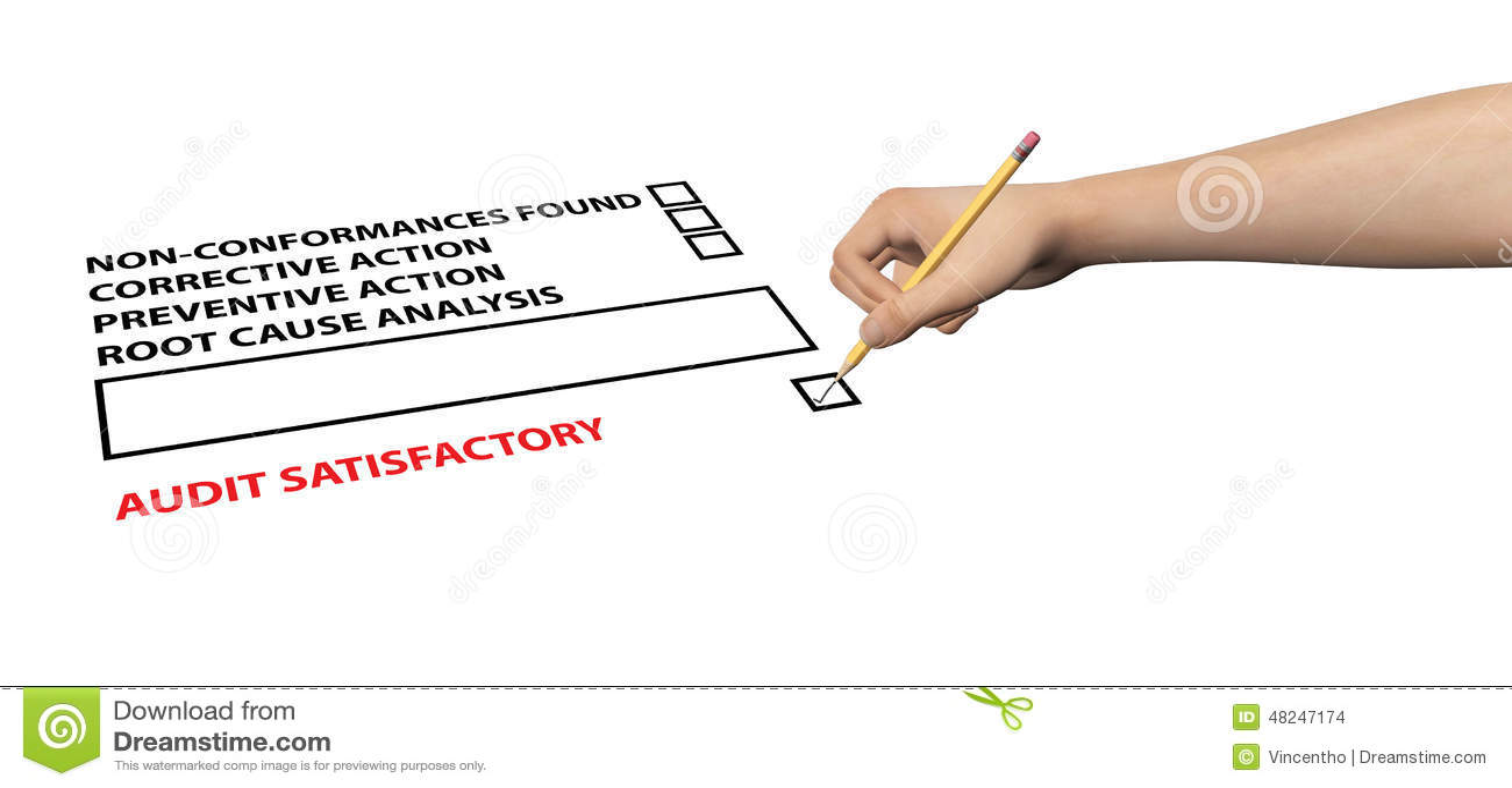 ISO Audit Checklist Satisfactory Illustration Stock Photo ...