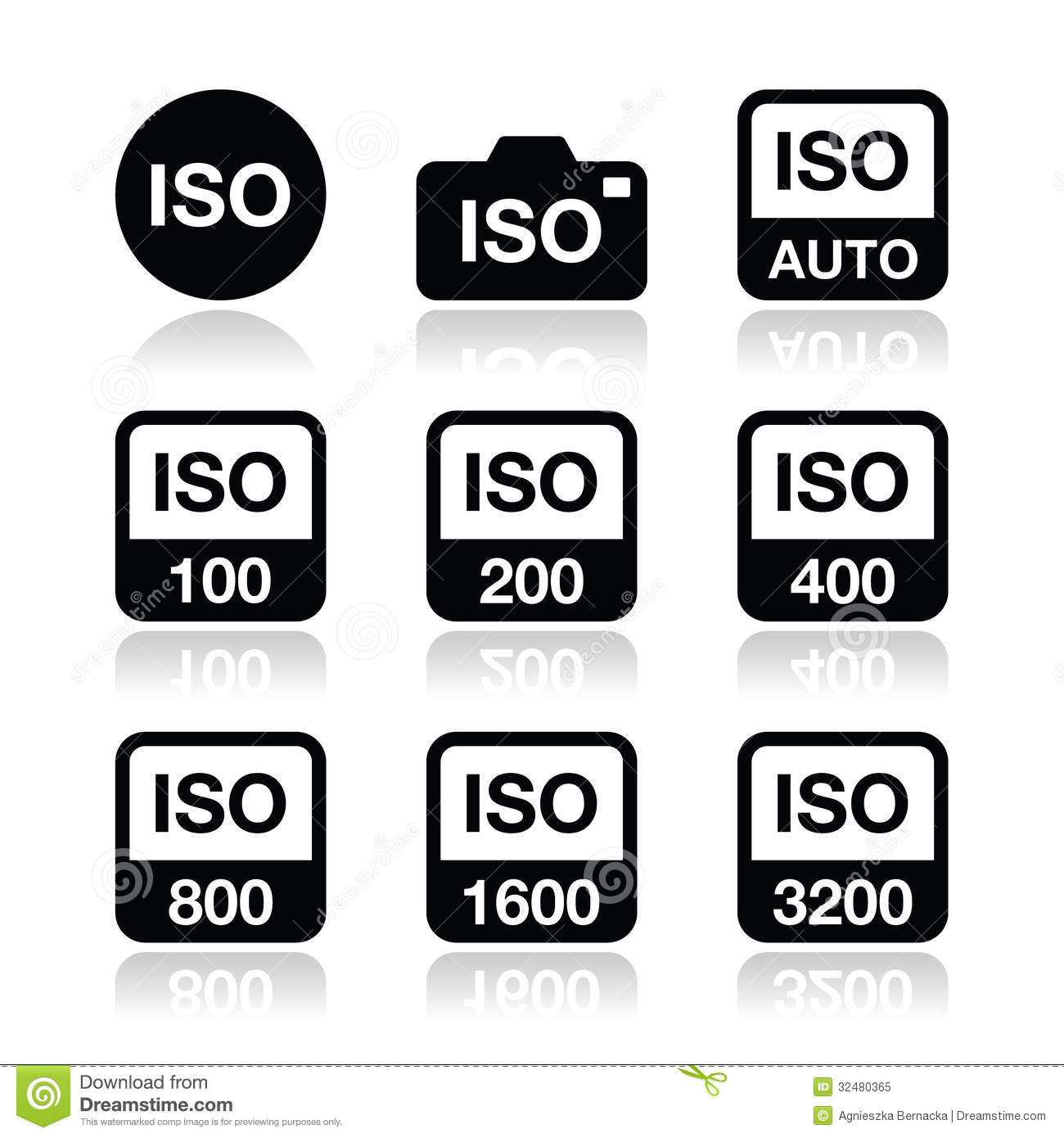 iso - camera film speed standard icons set stock illustration