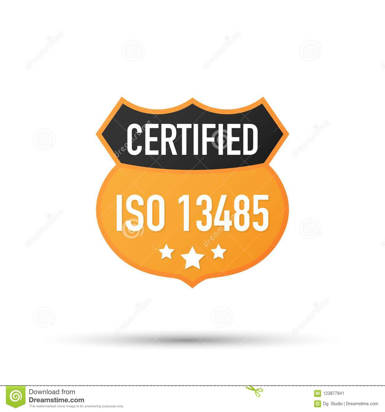 Iso 13485 Certified Badge Icon Certification Stamp Flat Design