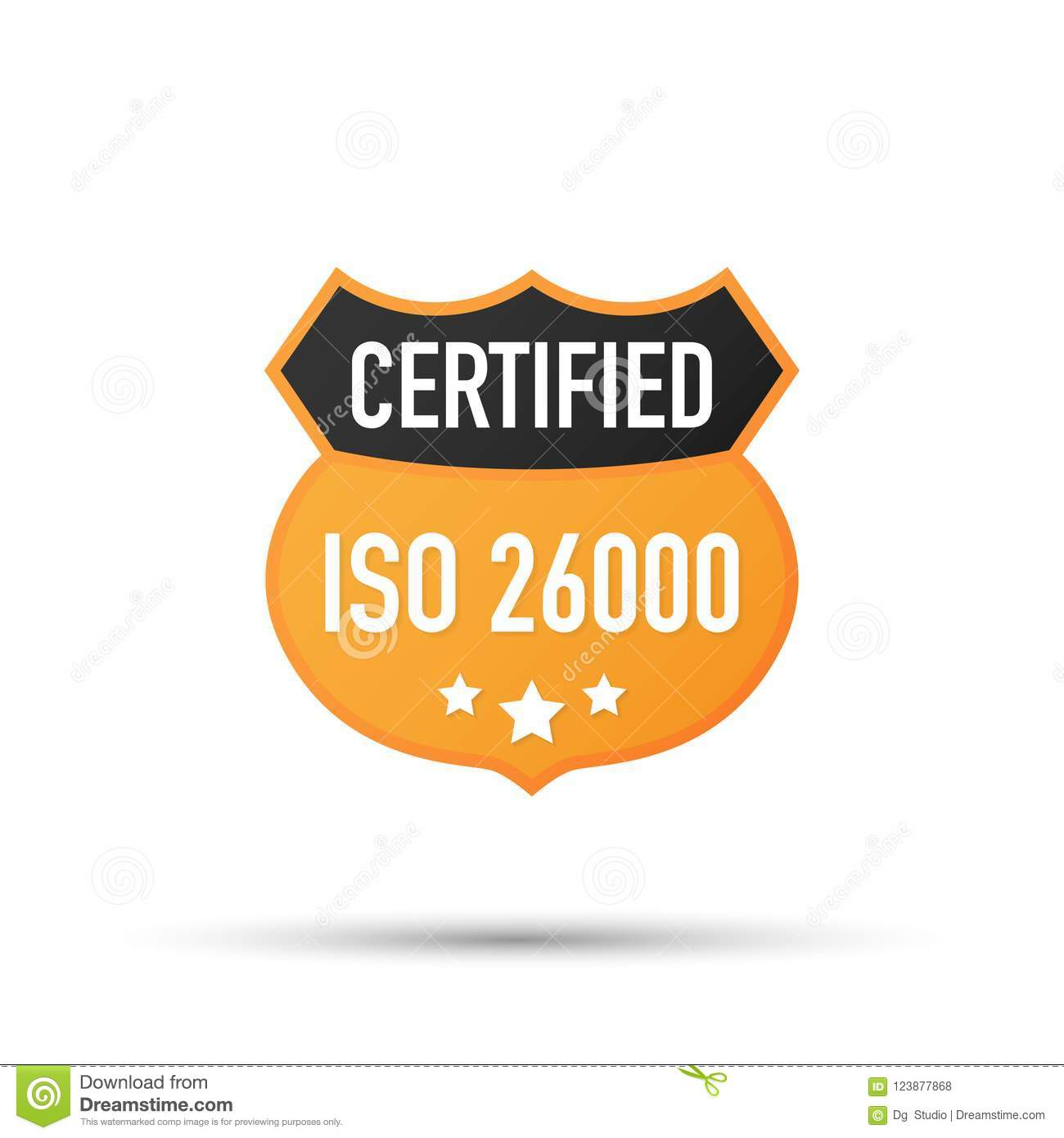 ISO 26000 Certified Badge Icon Certification Stamp Flat Design Vector Illustration